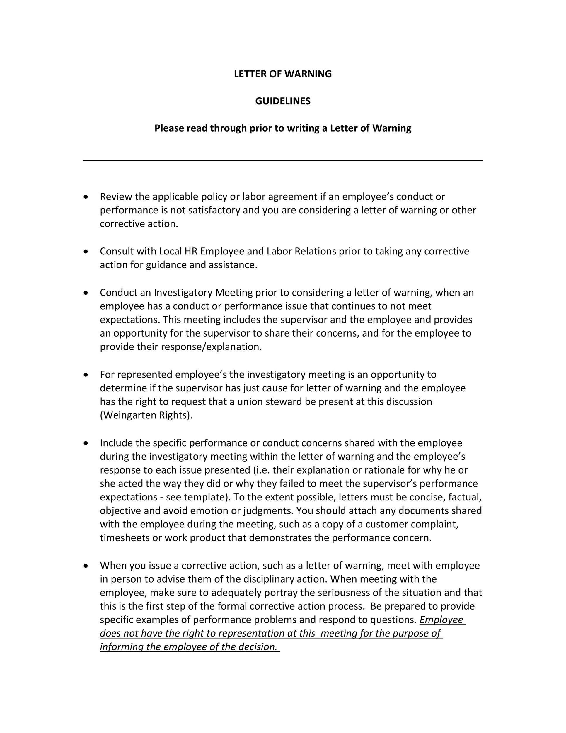 Free employee warning letter 32