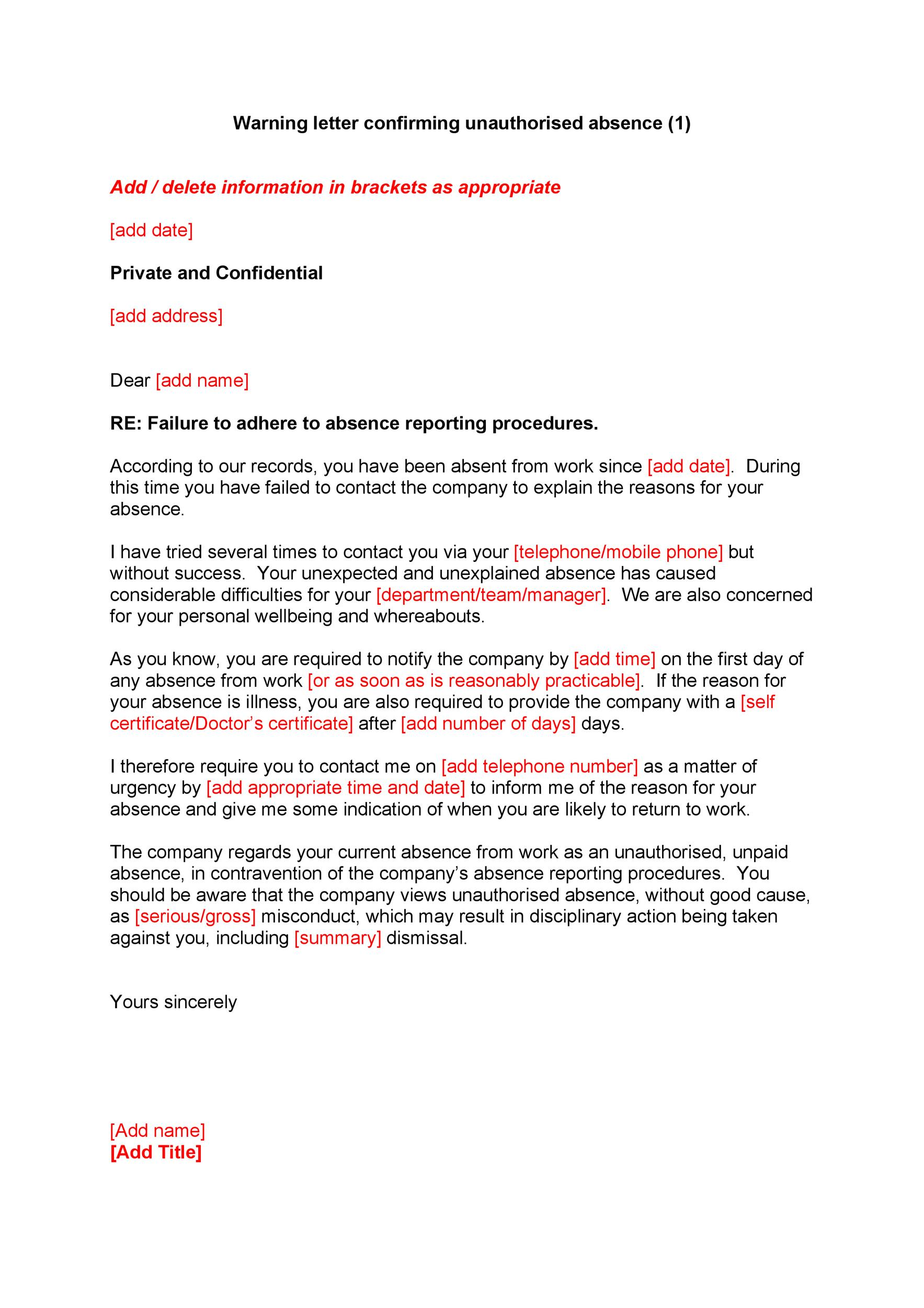 Free employee warning letter 33