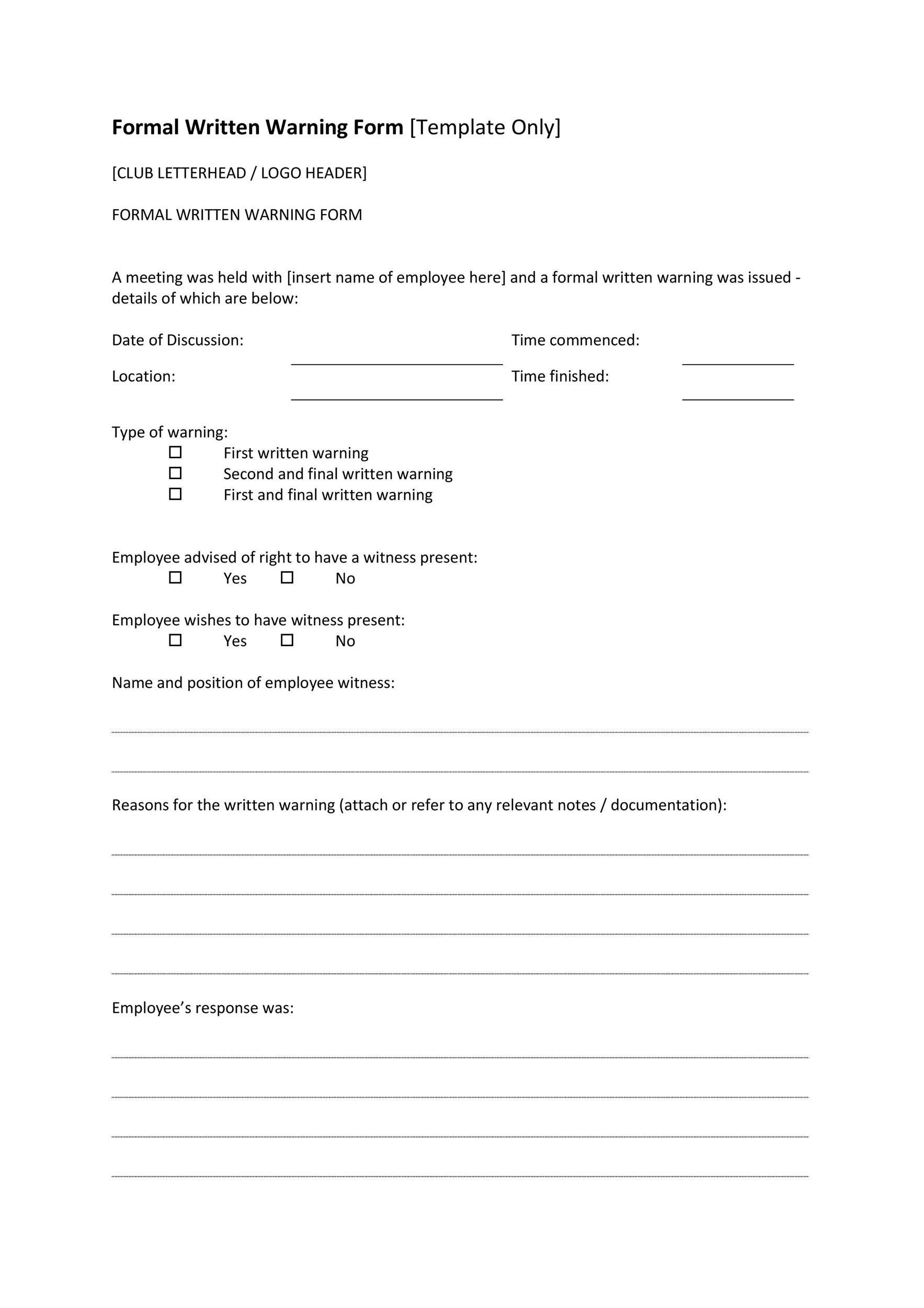 Free employee warning letter 36