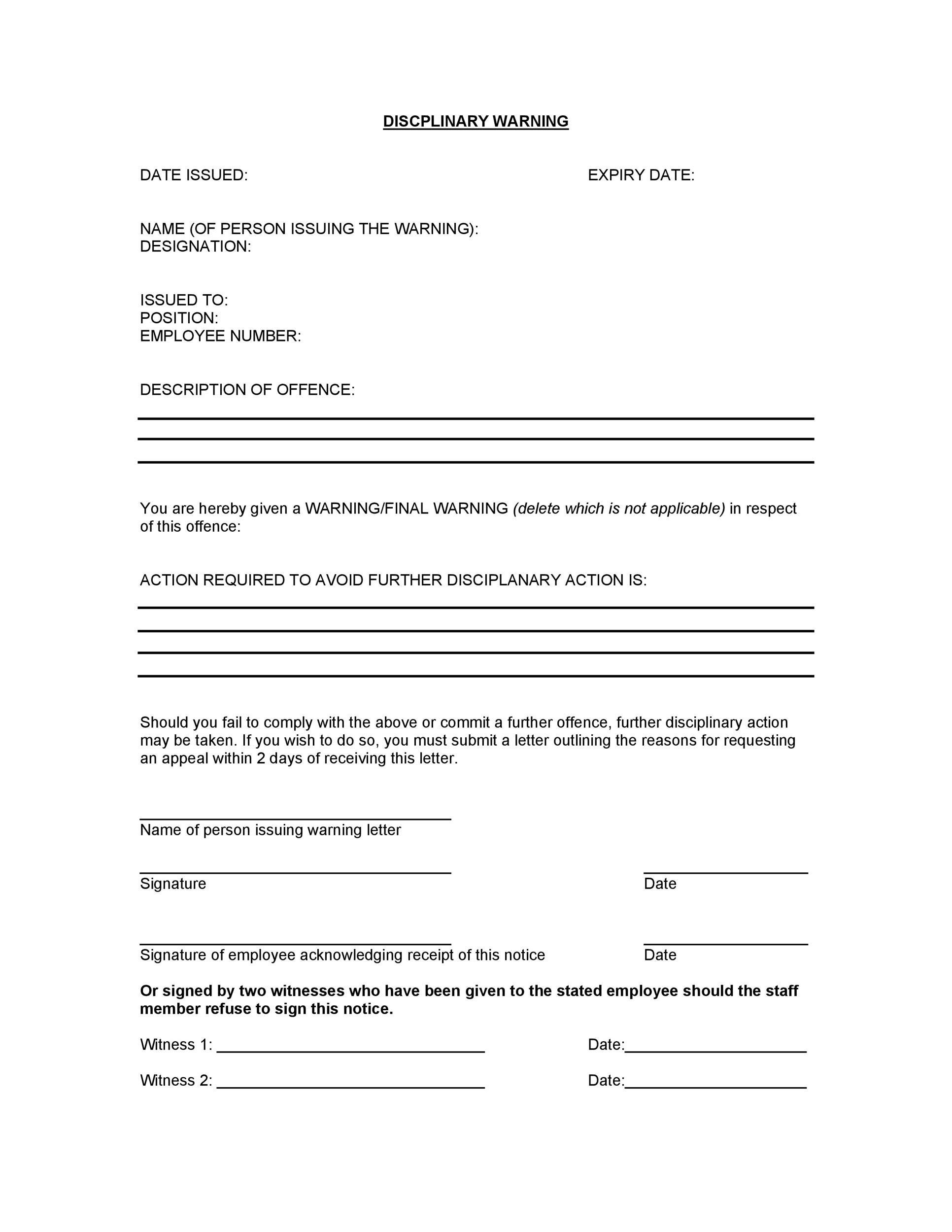 Free employee warning letter 38