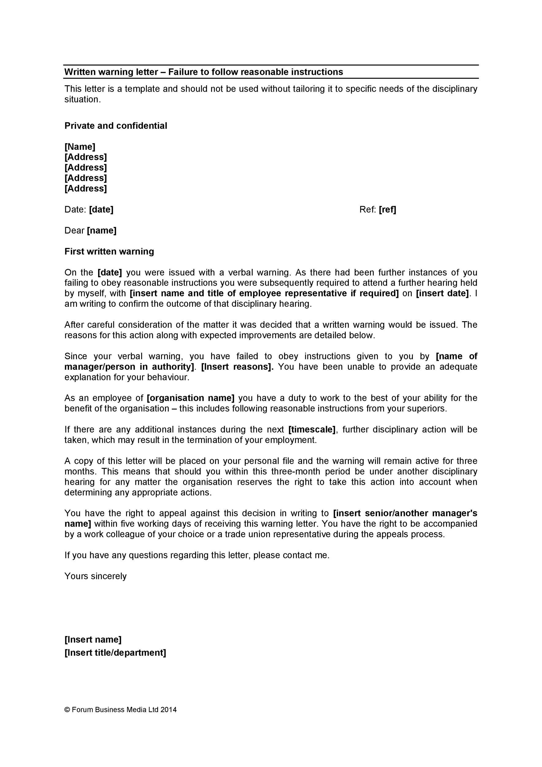 Free employee warning letter 43