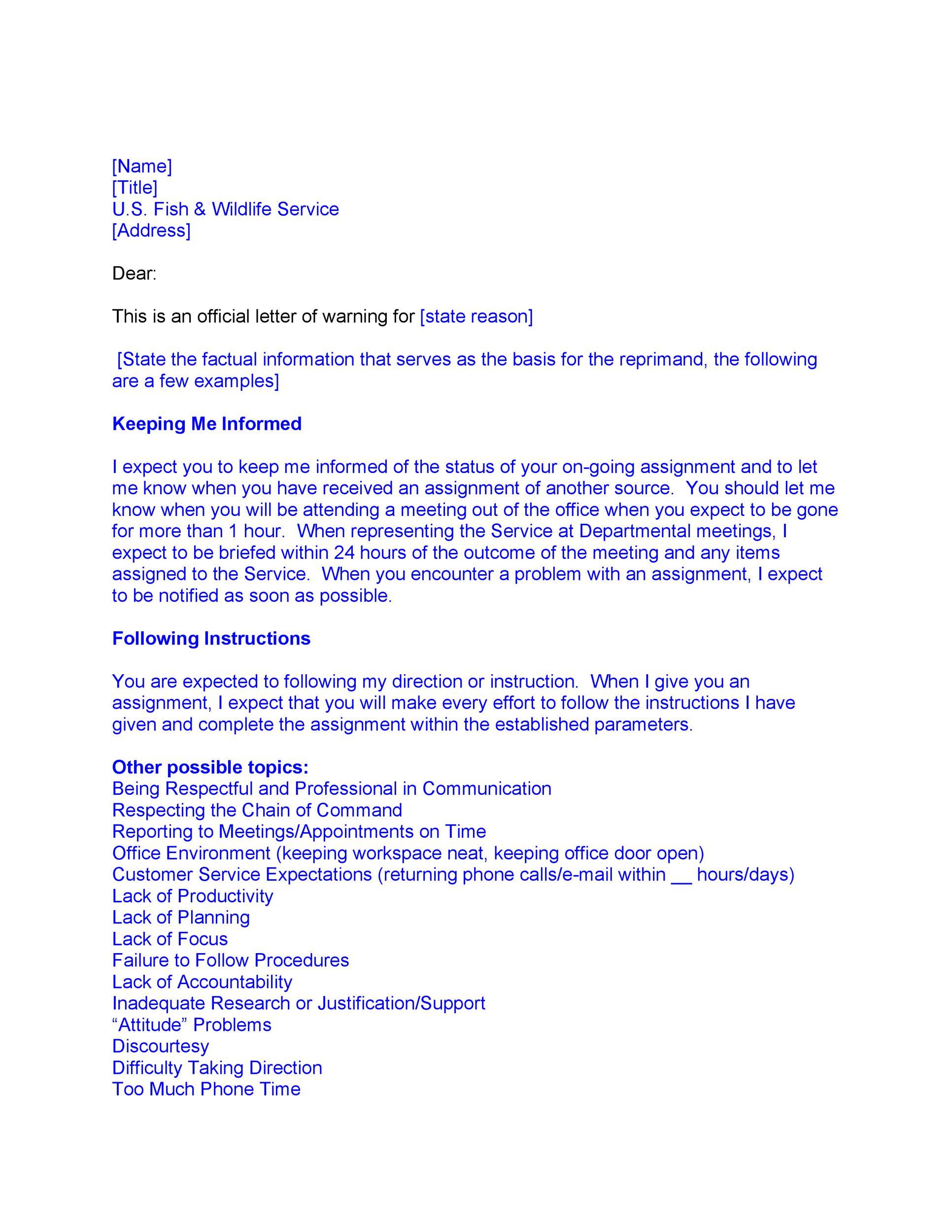 Free employee warning letter 47