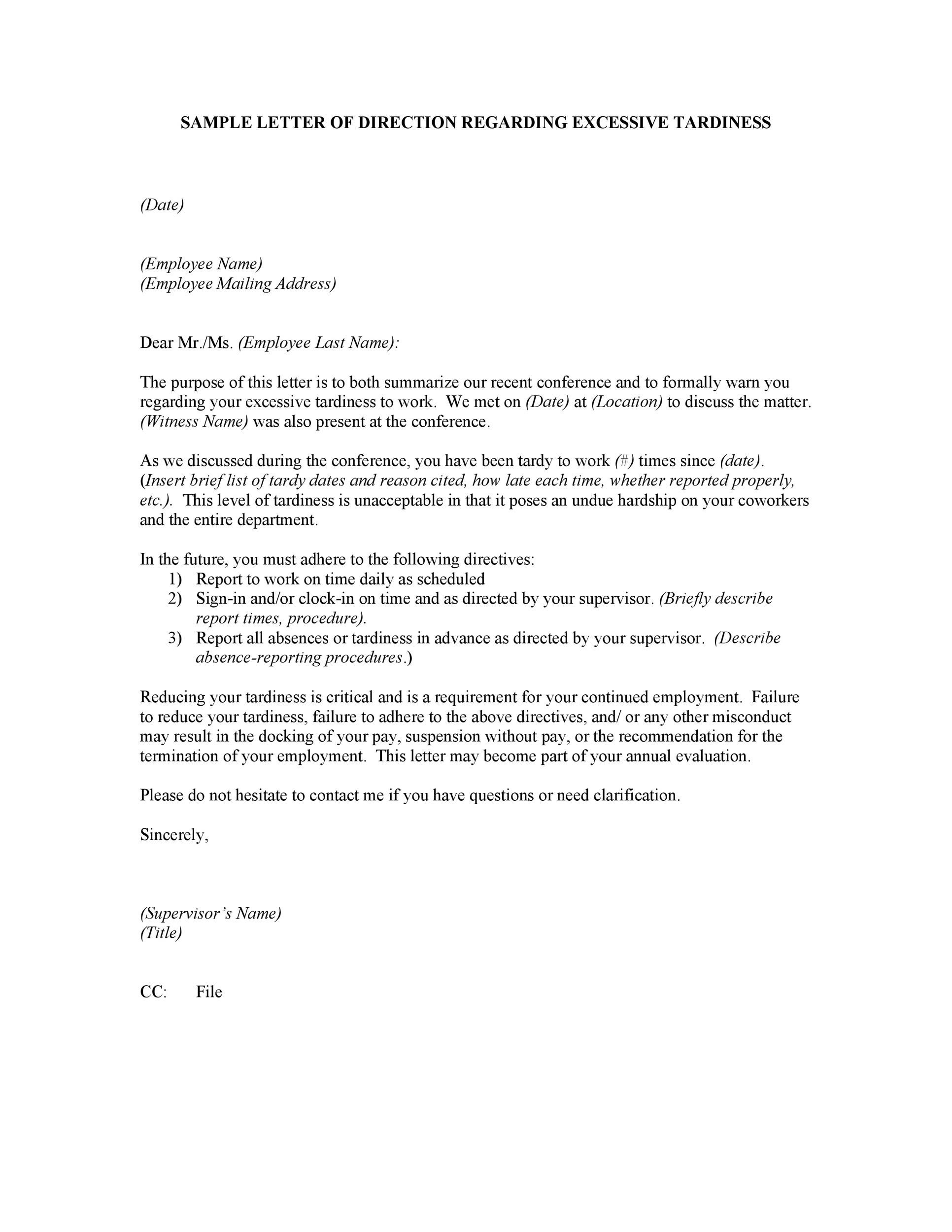 Warning Letter To Employee For Misconduct from templatelab.com