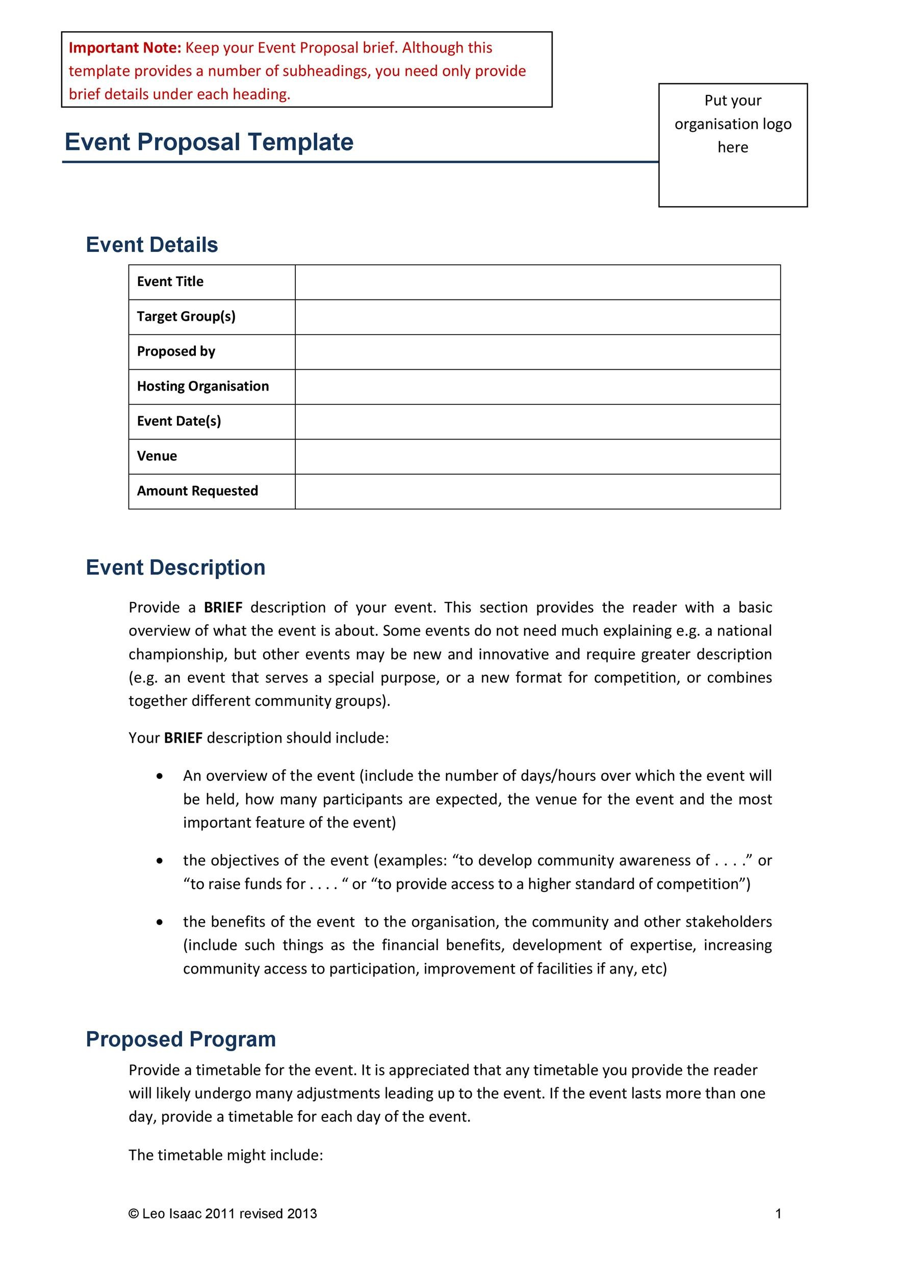 38 best event proposal templates free examples template lab