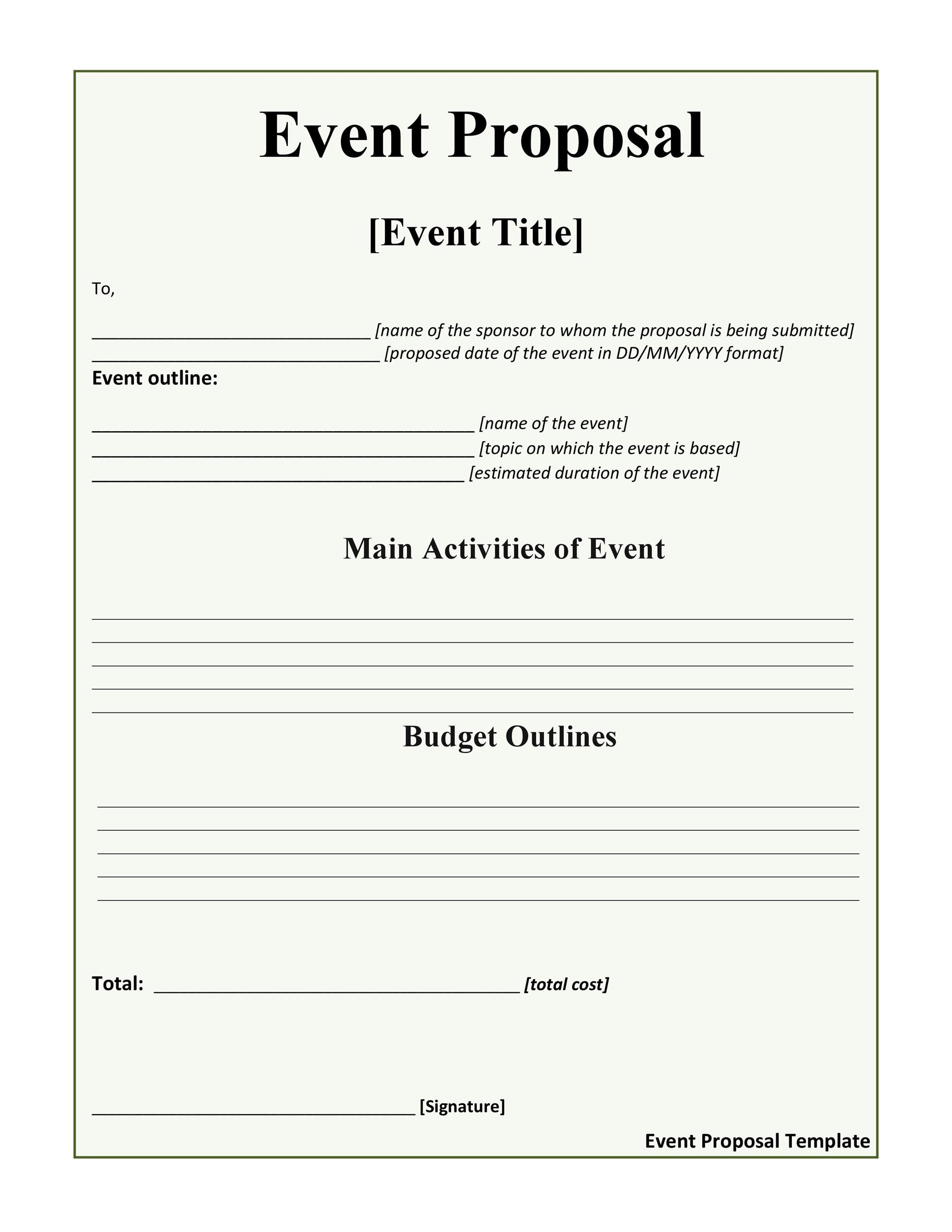 Free event proposal template 10