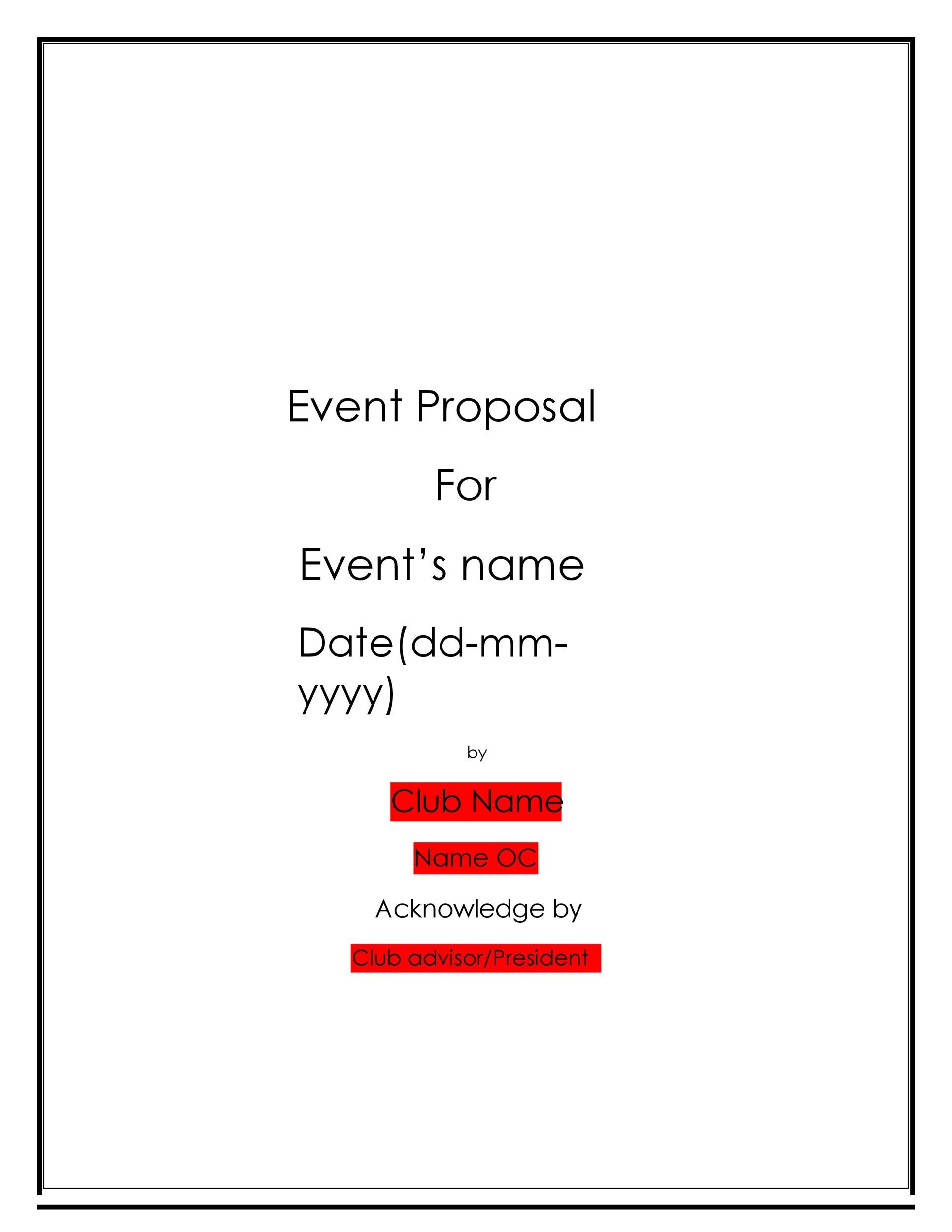 Free event proposal template 26