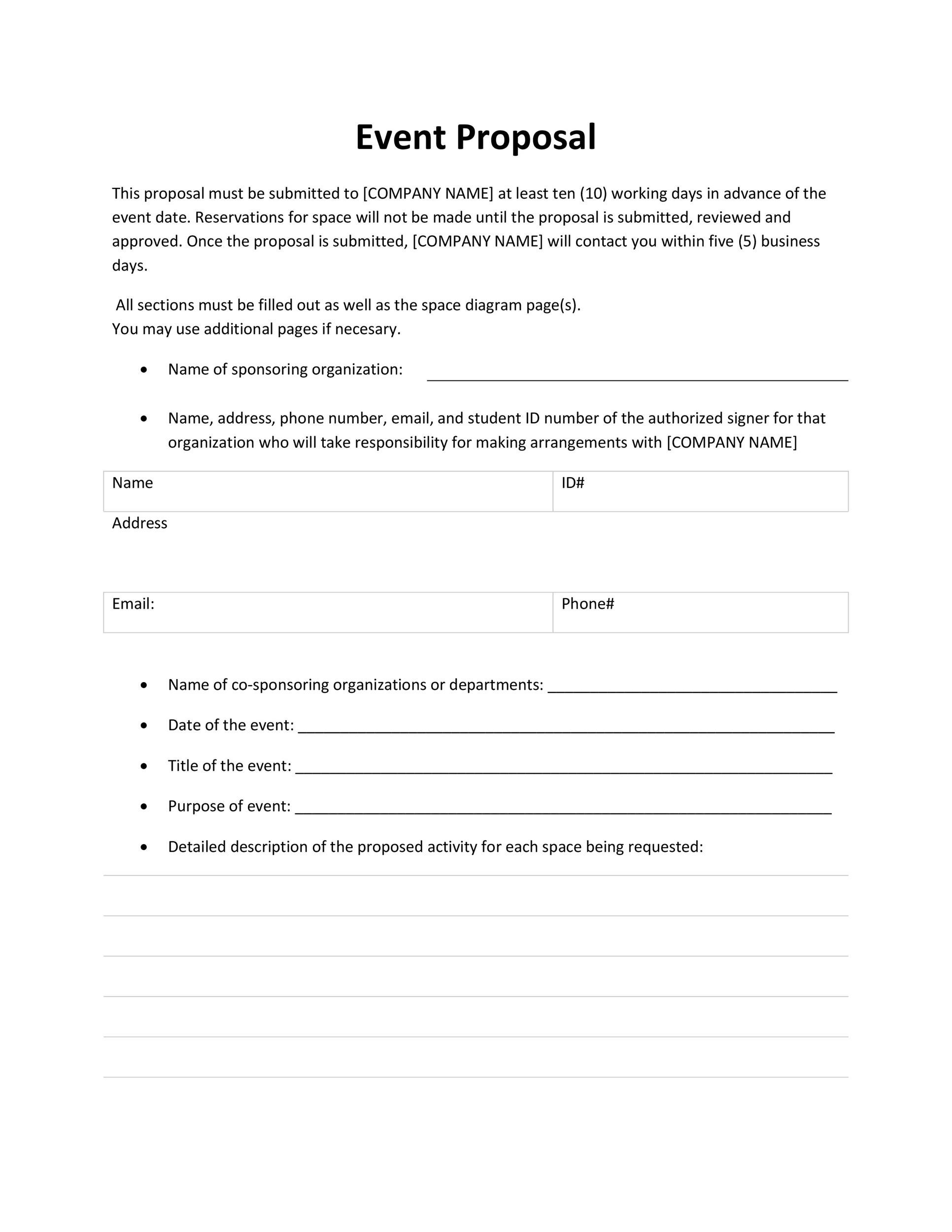 Free event proposal template 36