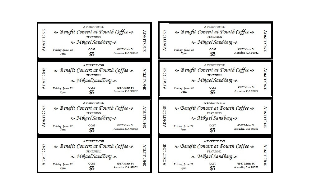 picture about Free Printable Tickets Template identified as 22 No cost Party Ticket Templates (MS Term) ᐅ Template Lab