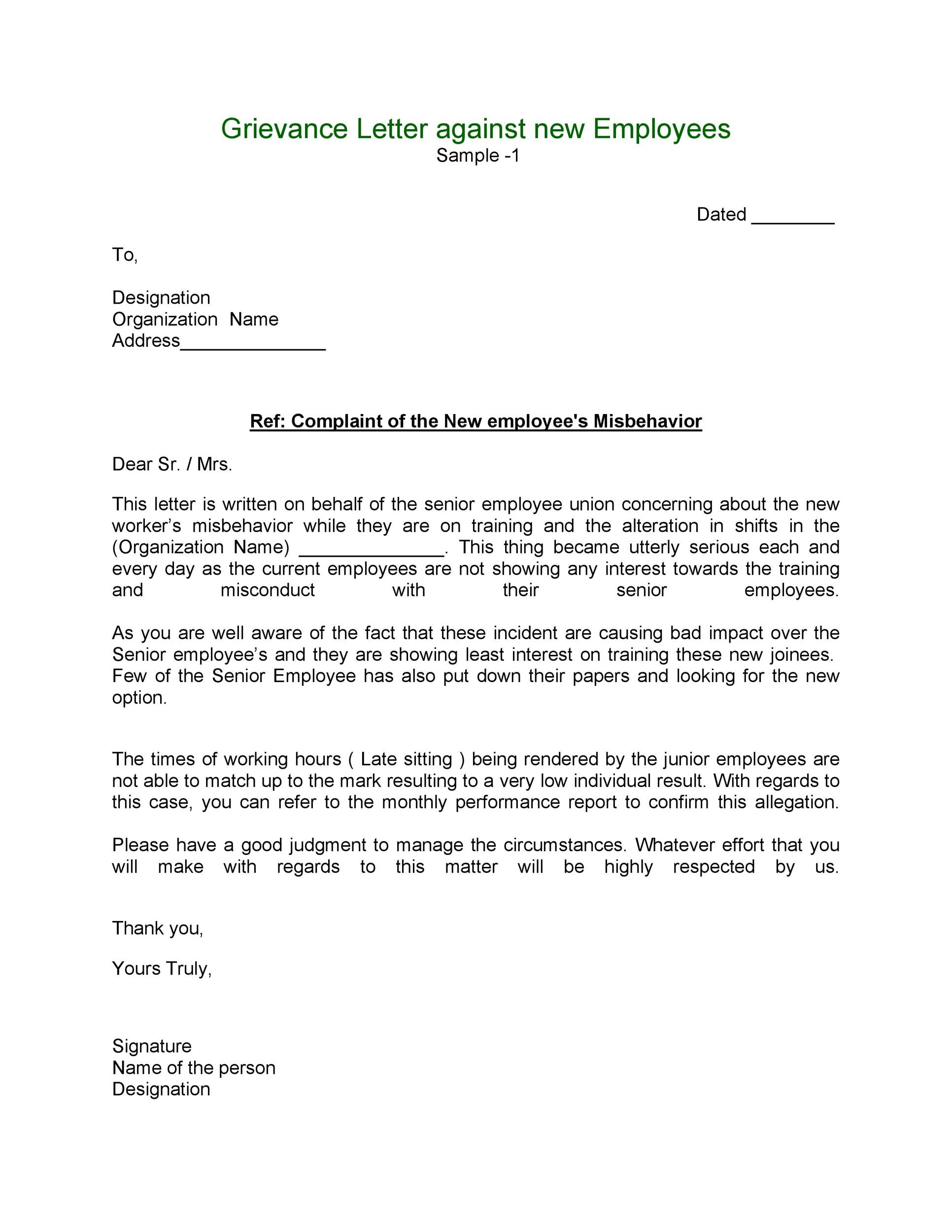 Free grievance letter 01