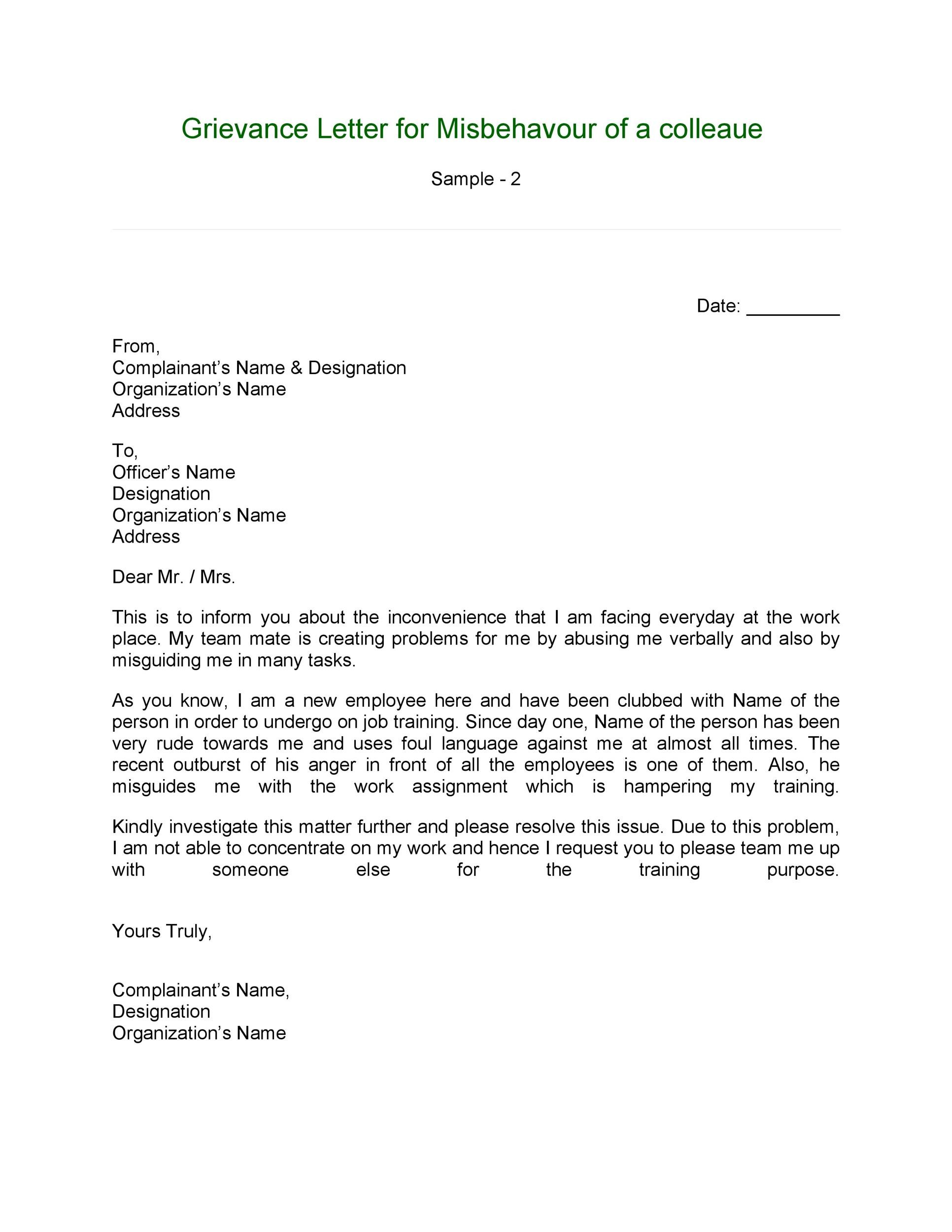Free grievance letter 02