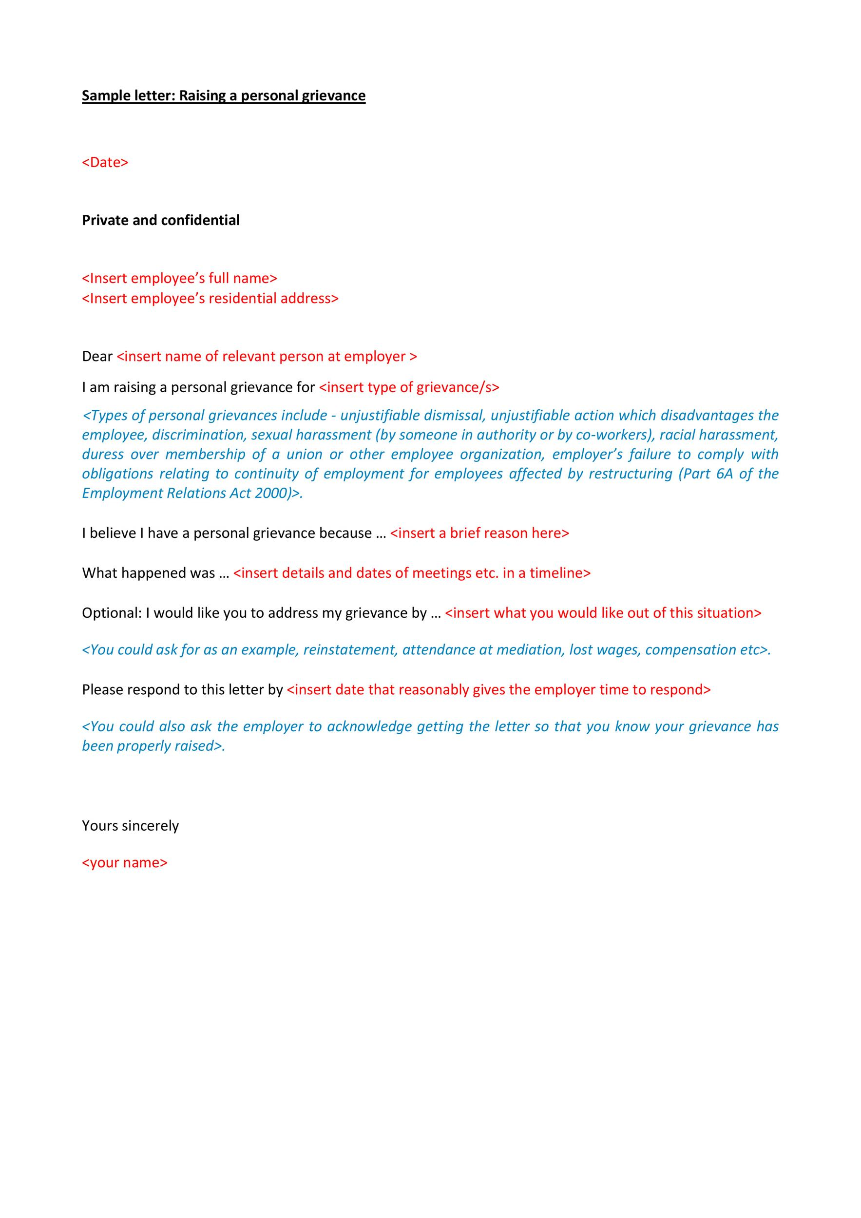 Free grievance letter 03