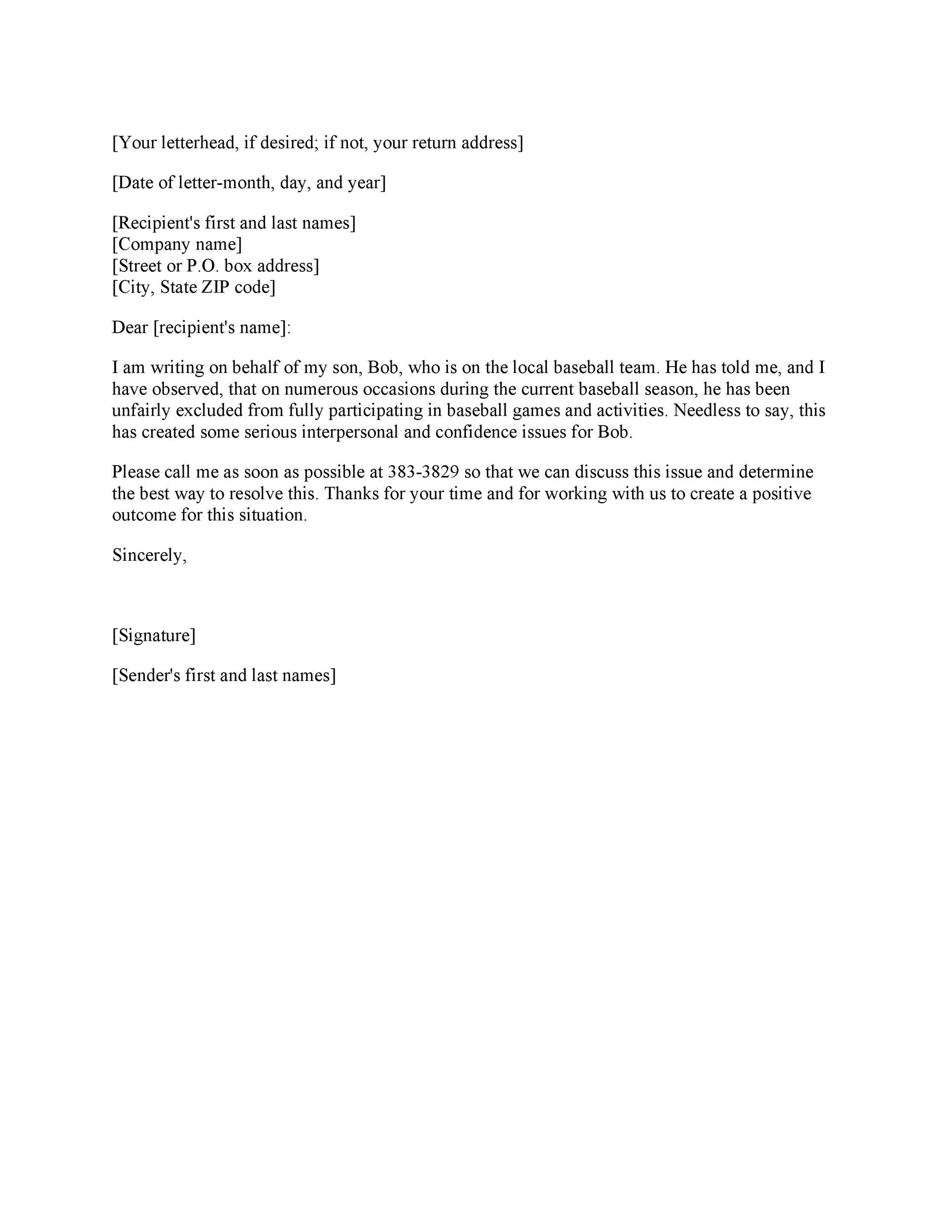 Free grievance letter 04