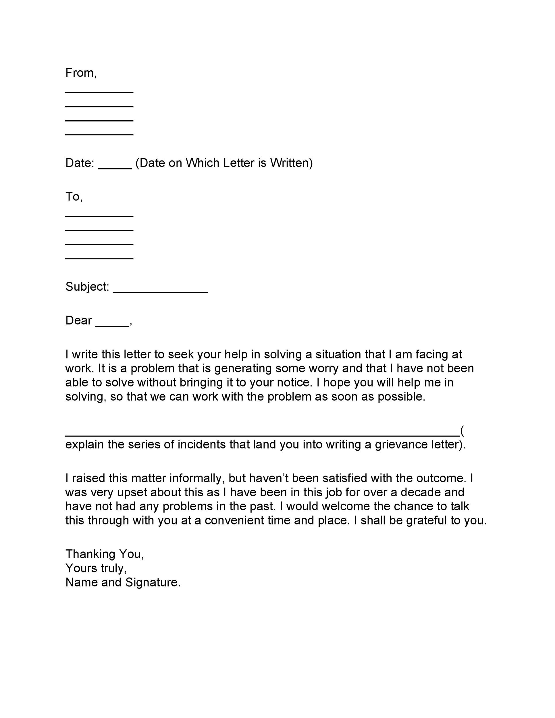 37 editable grievance letters (tips & free samples) - template lab