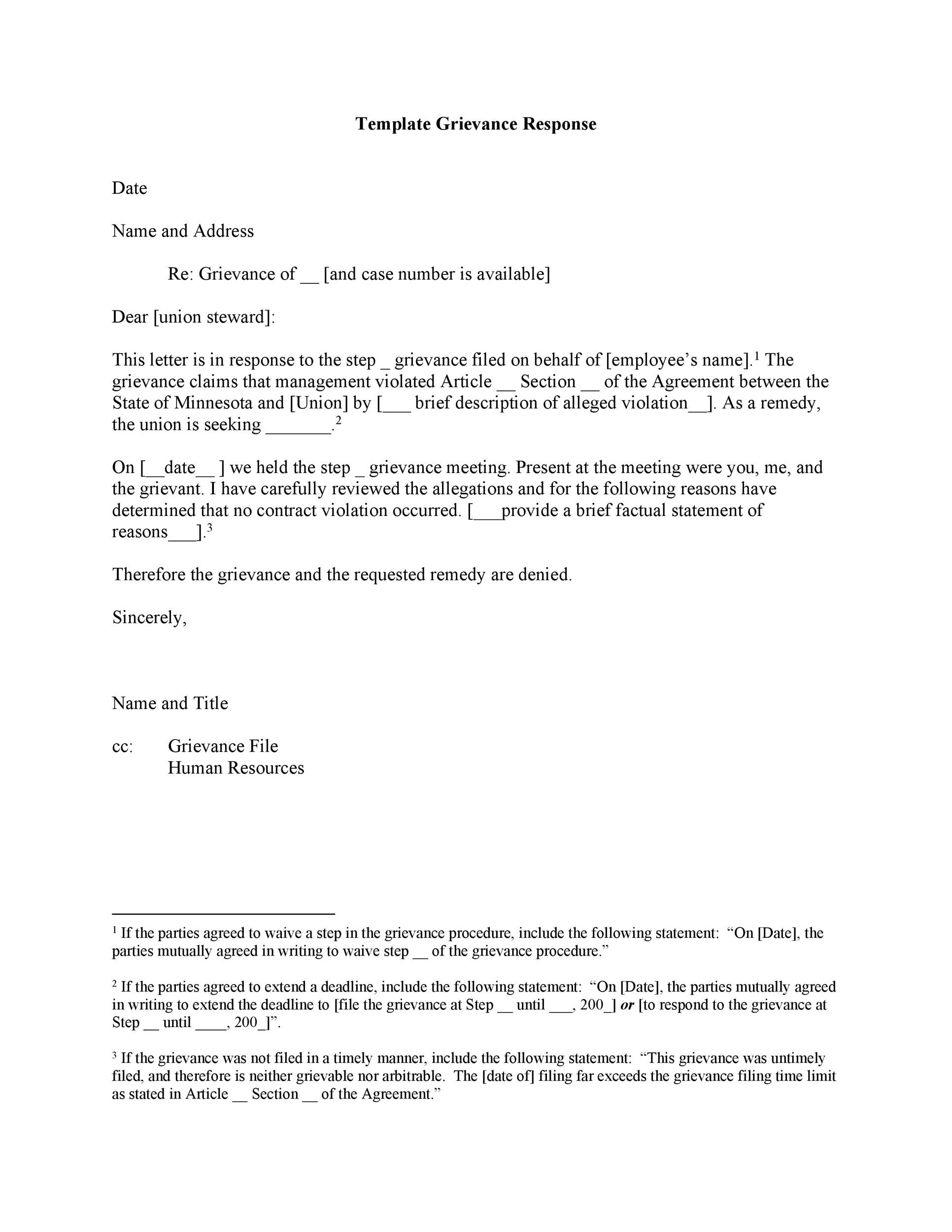 Free grievance letter 08