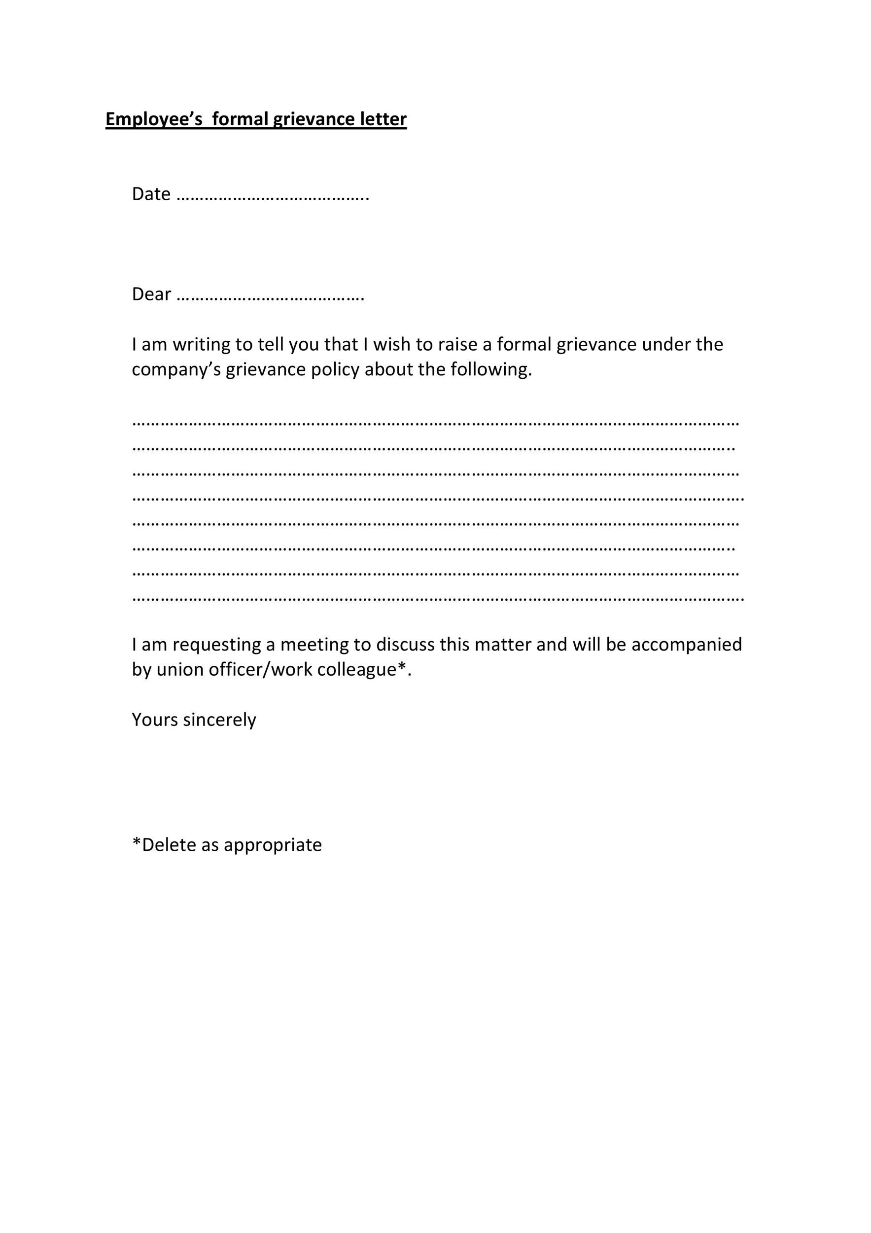 Free grievance letter 09