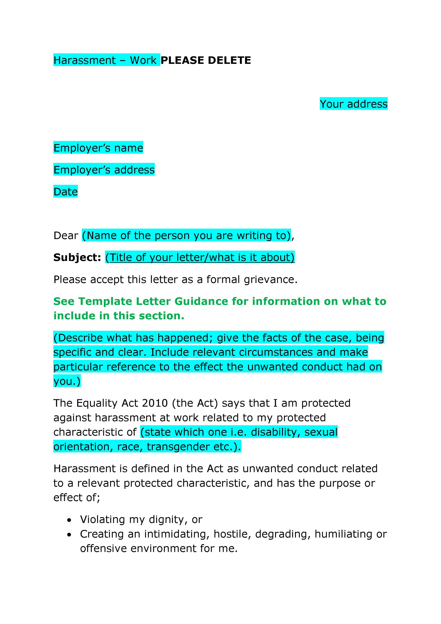 Sample Letter Of Workplace Harassment from templatelab.com
