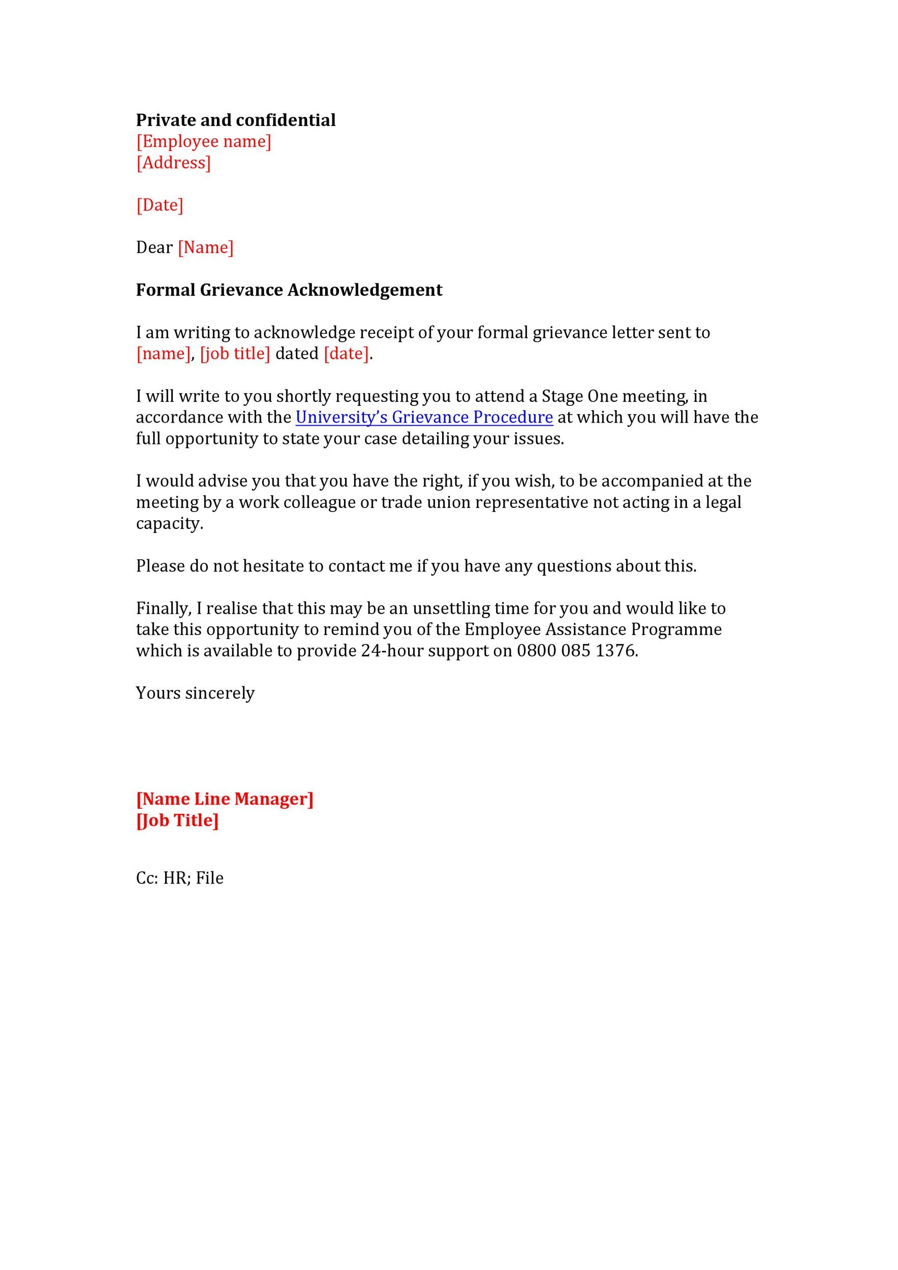 Free grievance letter 11