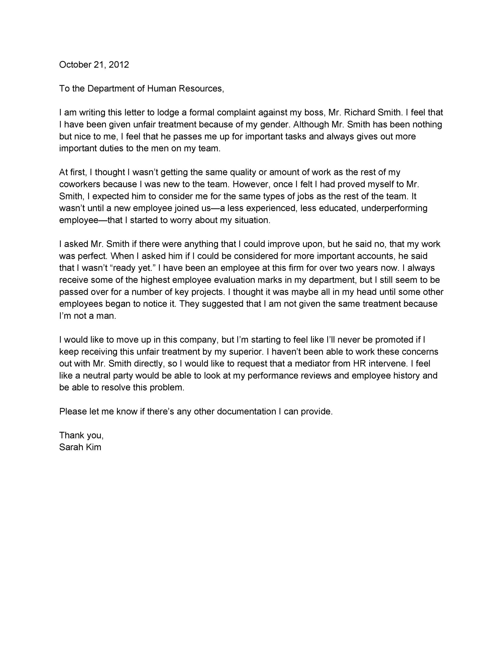 Free grievance letter 15