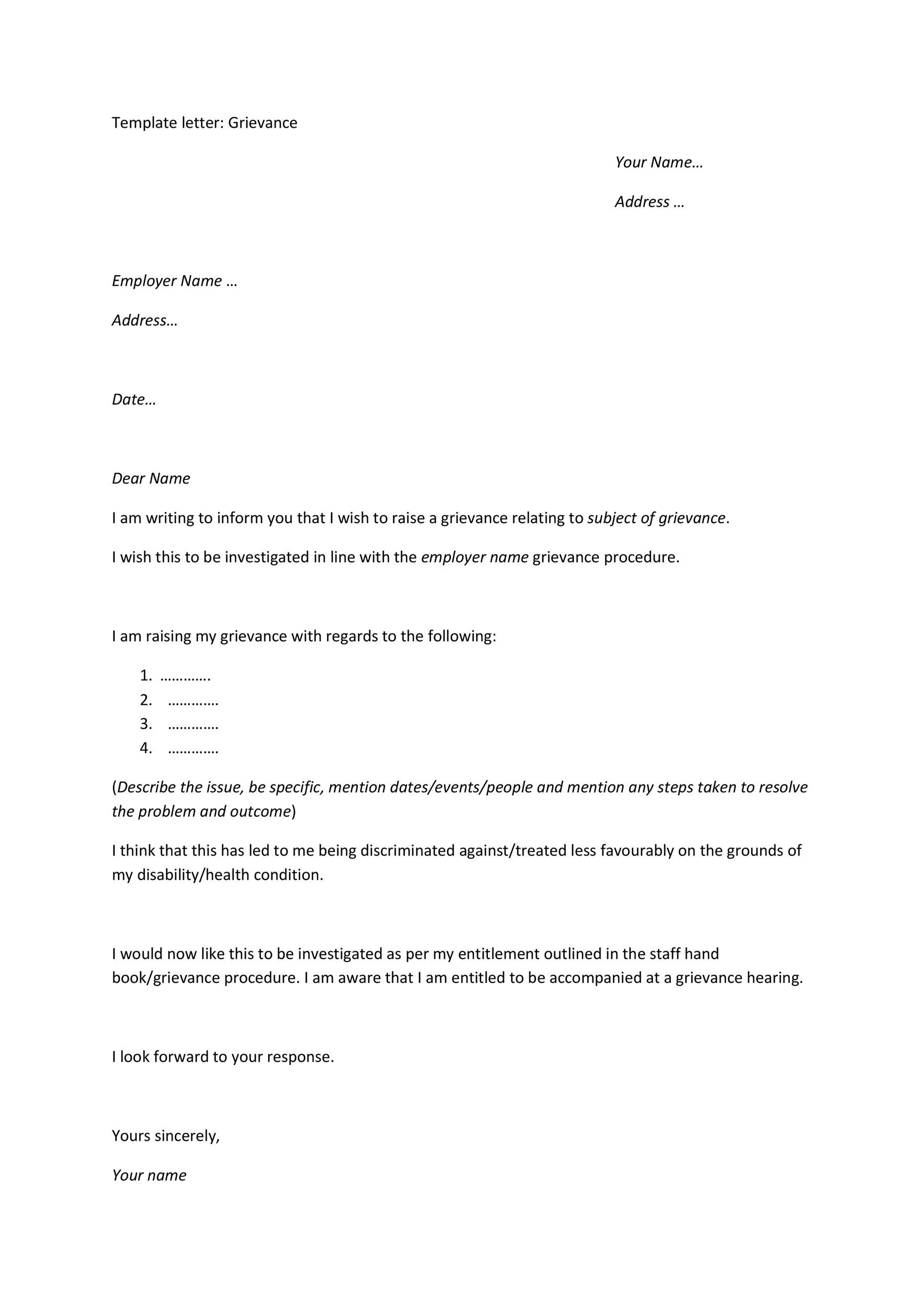 37 Editable Grievance Letters (Tips & Free Samples) ᐅ Template Lab