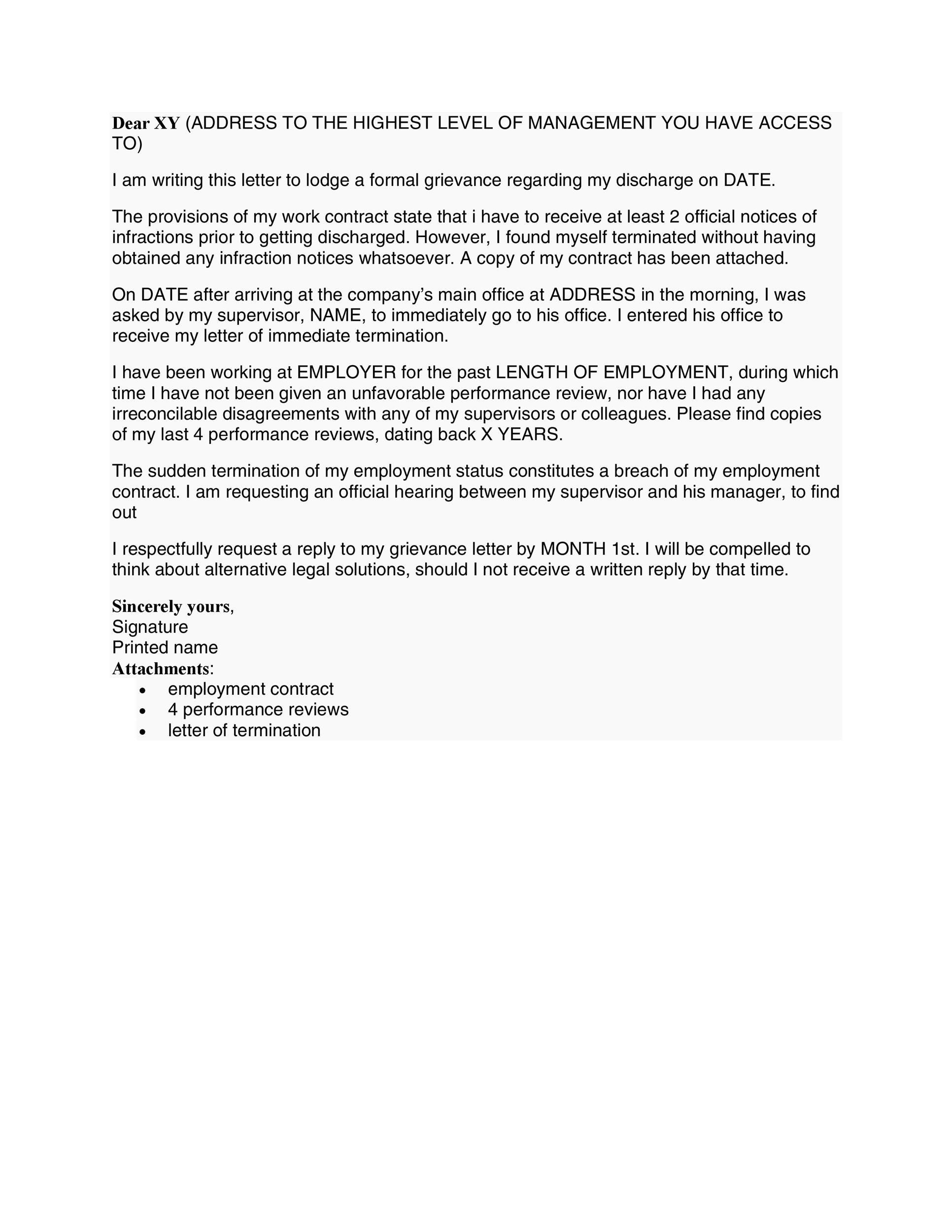 disagreement letter to employer sample