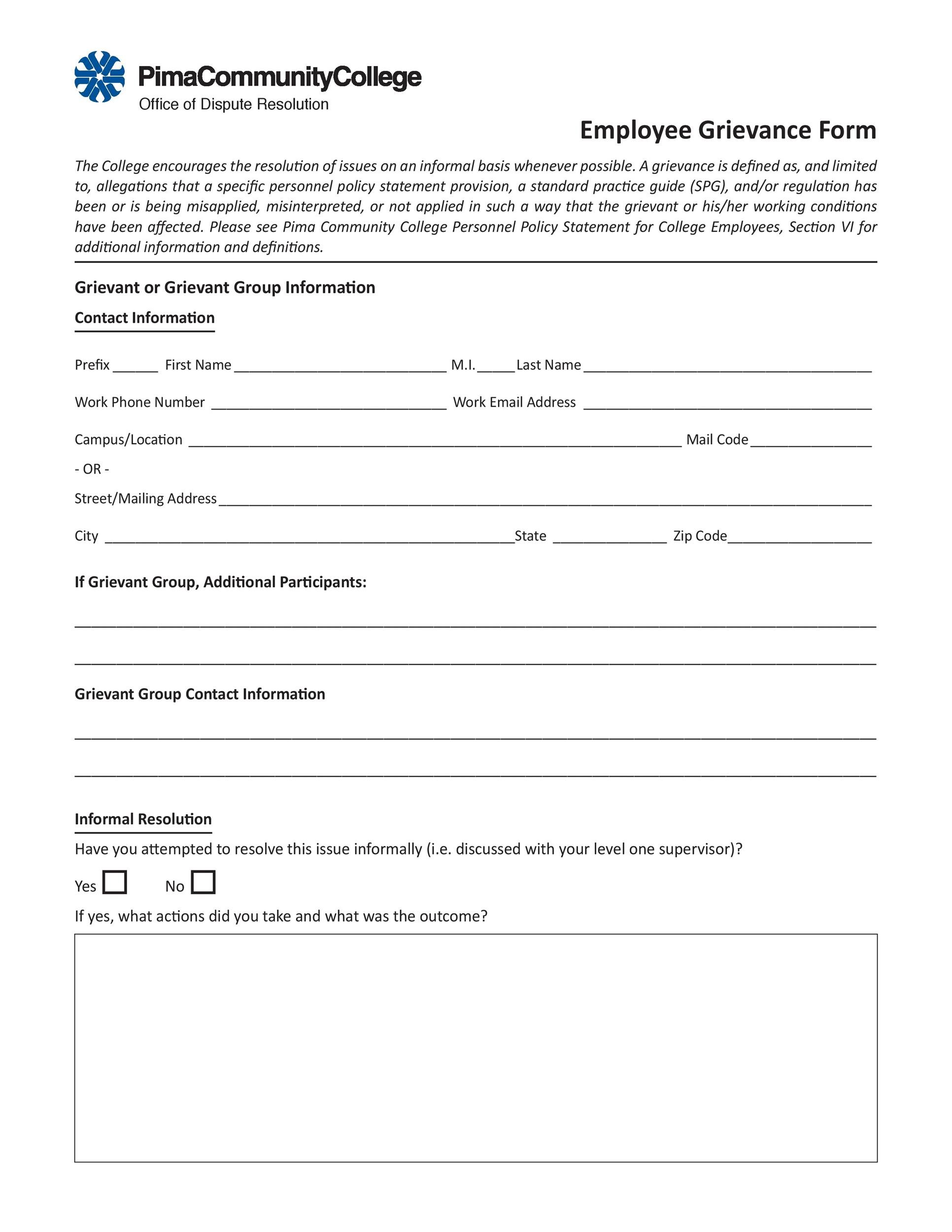Free grievance letter 36