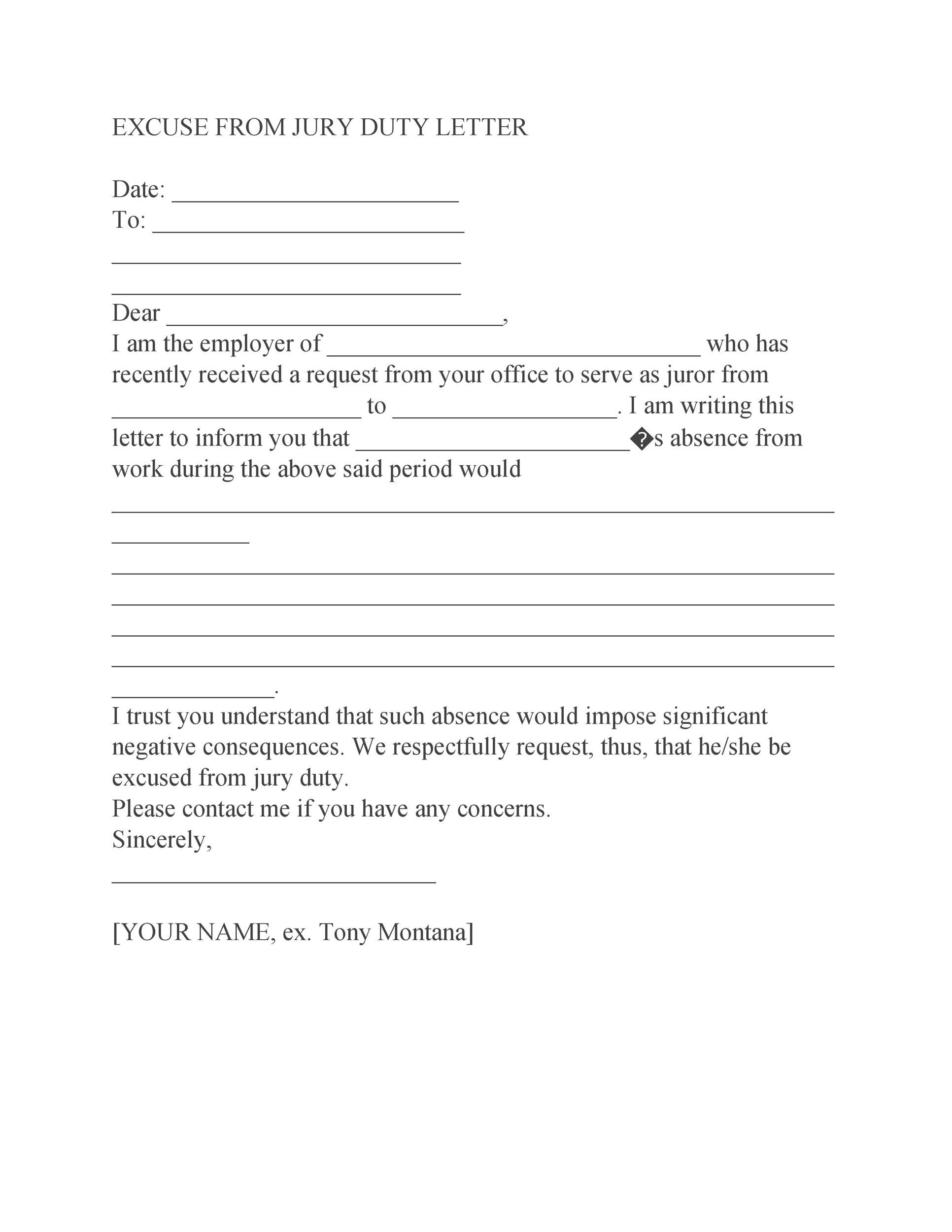 Free jury duty excuse letter template 01