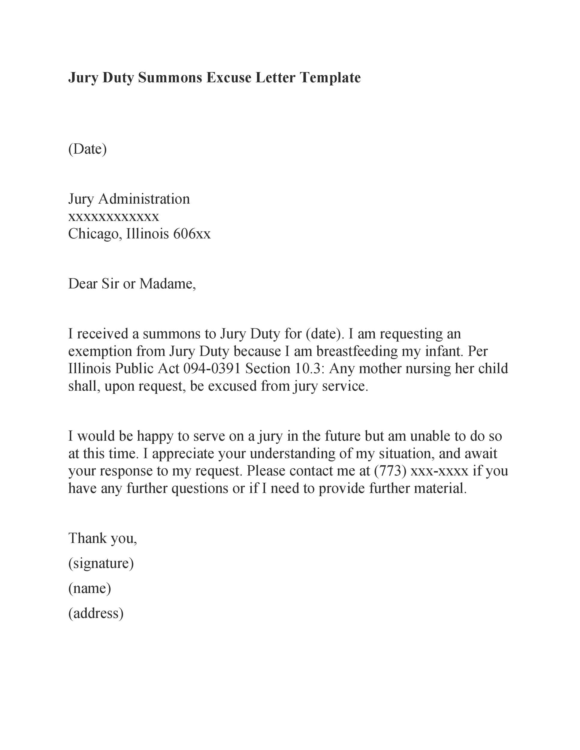 Free jury duty excuse letter template 03