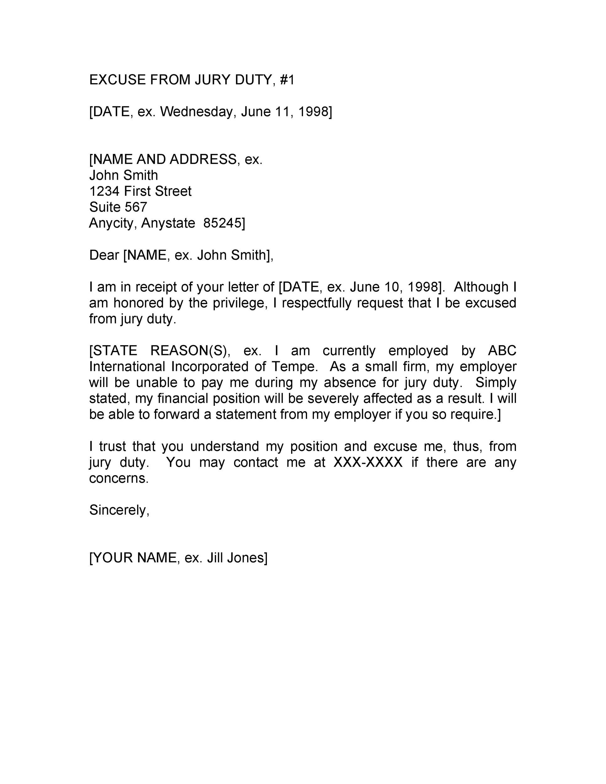 Free jury duty excuse letter template 06