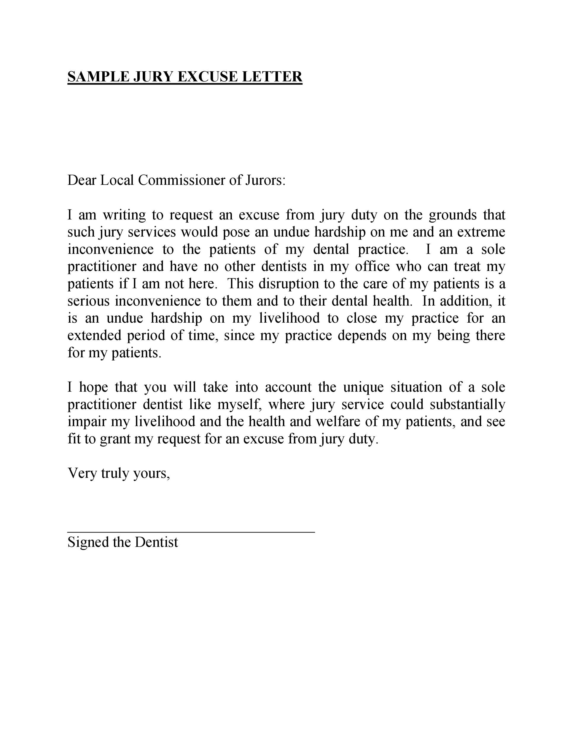 Free jury duty excuse letter template 09