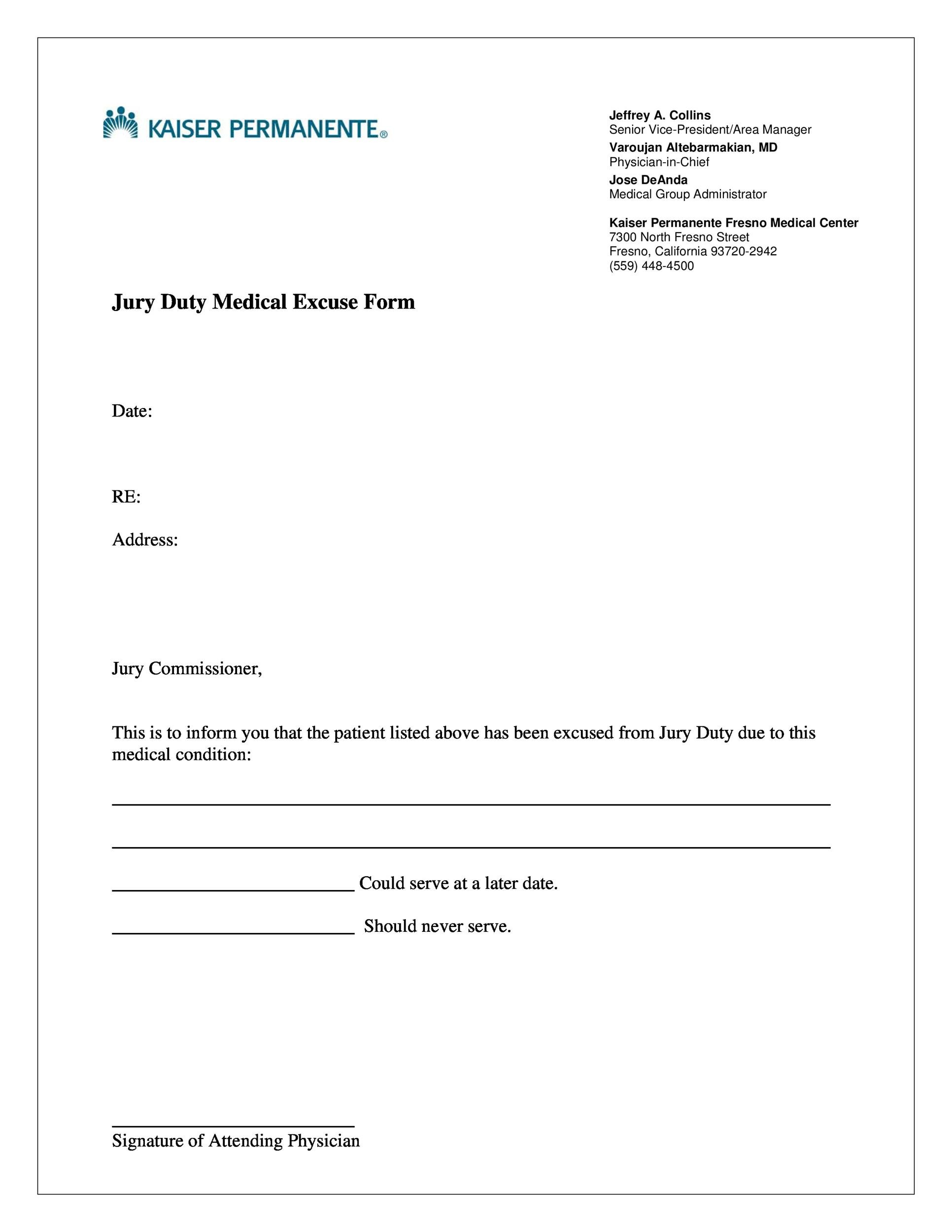 Free jury duty excuse letter template 11