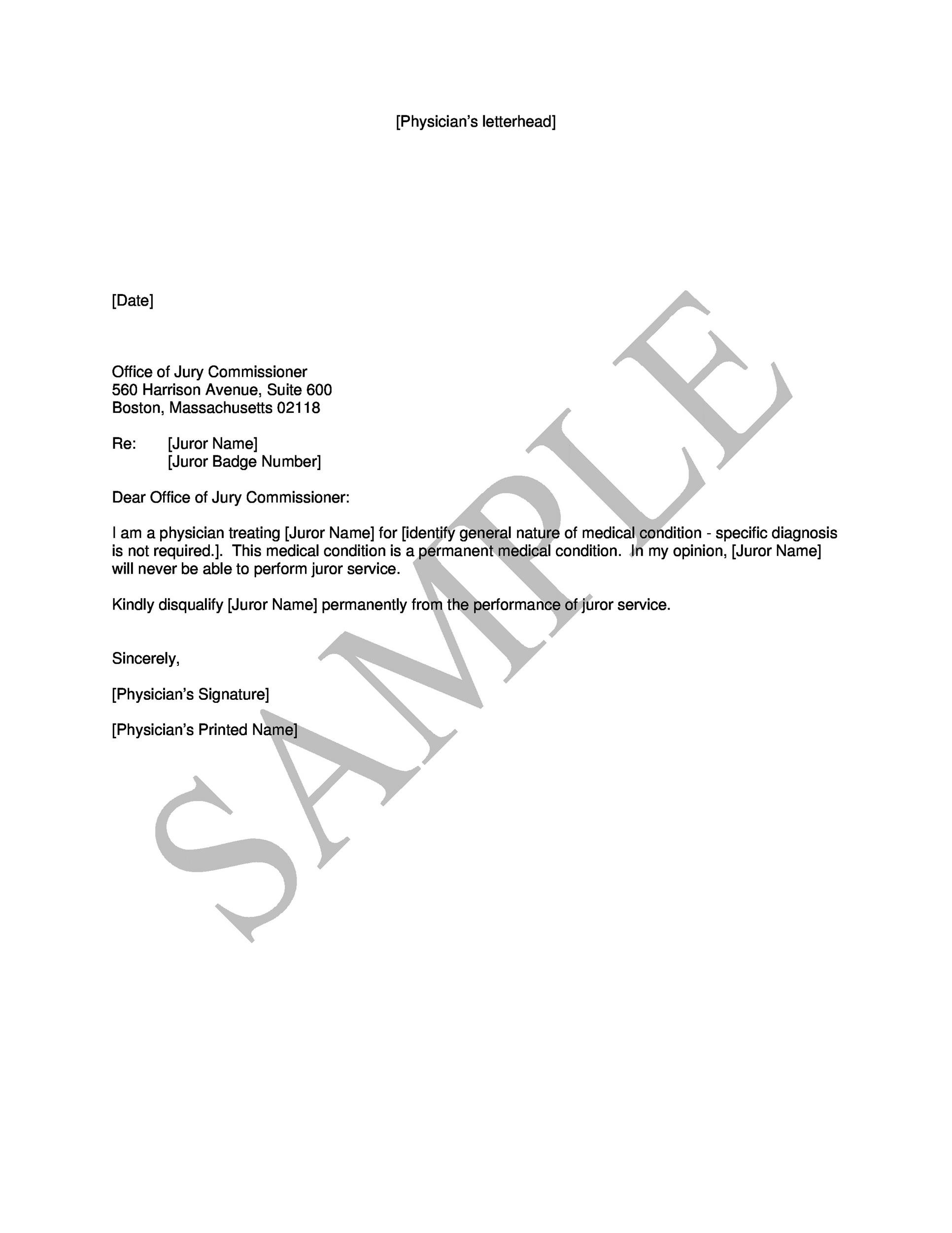 Free jury duty excuse letter template 13