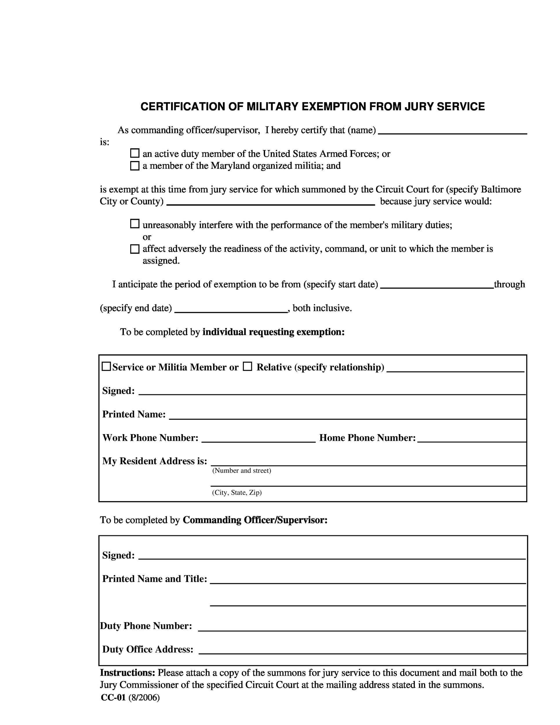 Free jury duty excuse letter template 14