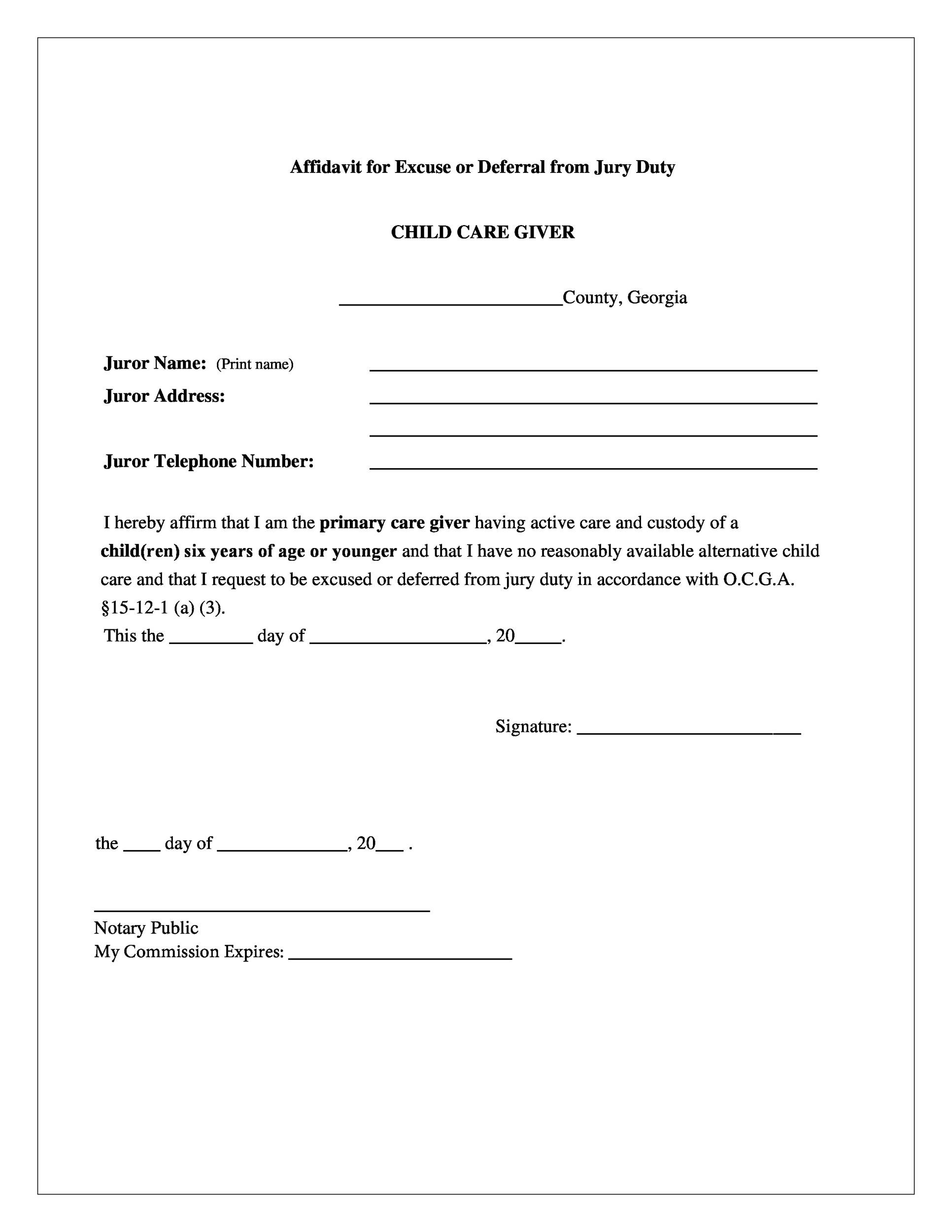 Free jury duty excuse letter template 15