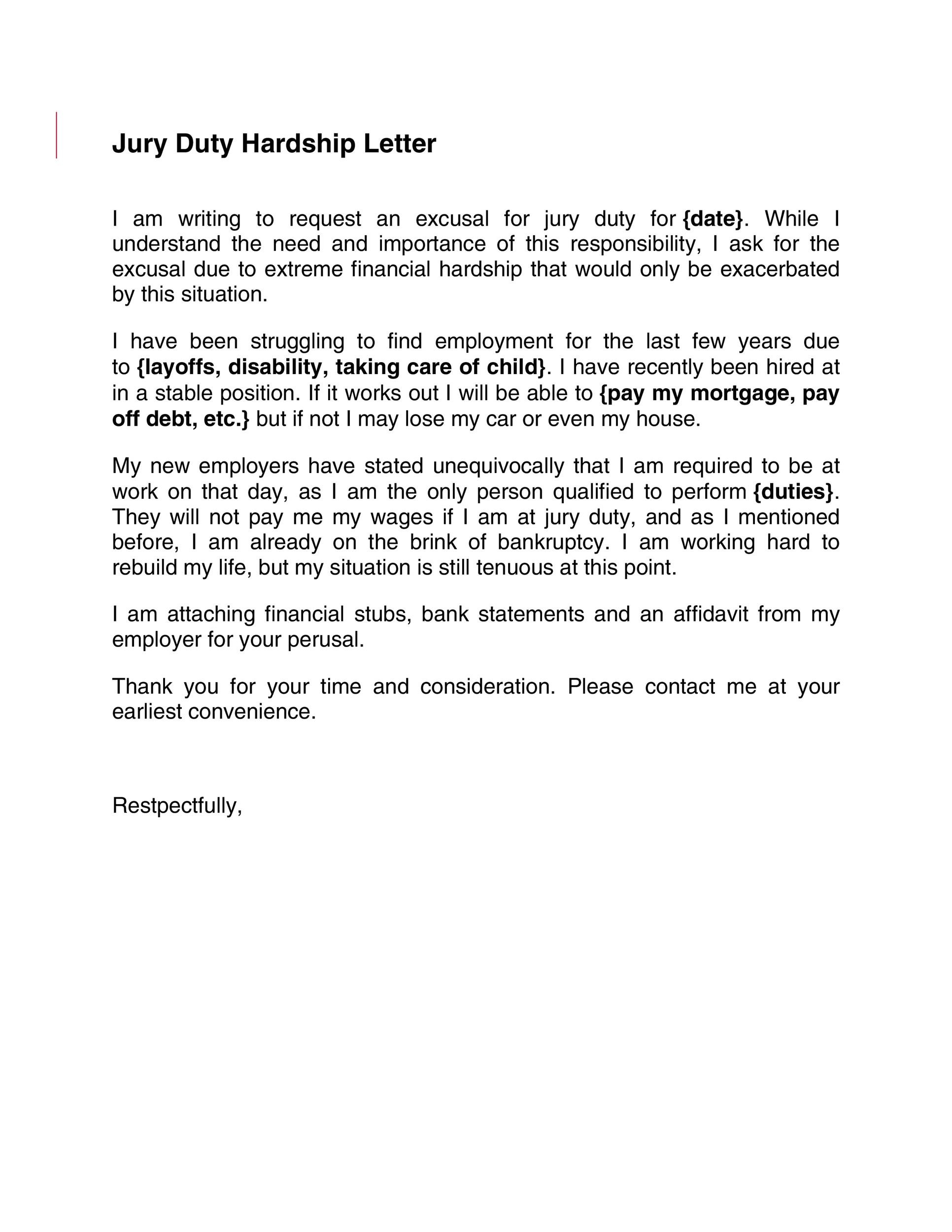 Free jury duty excuse letter template 16