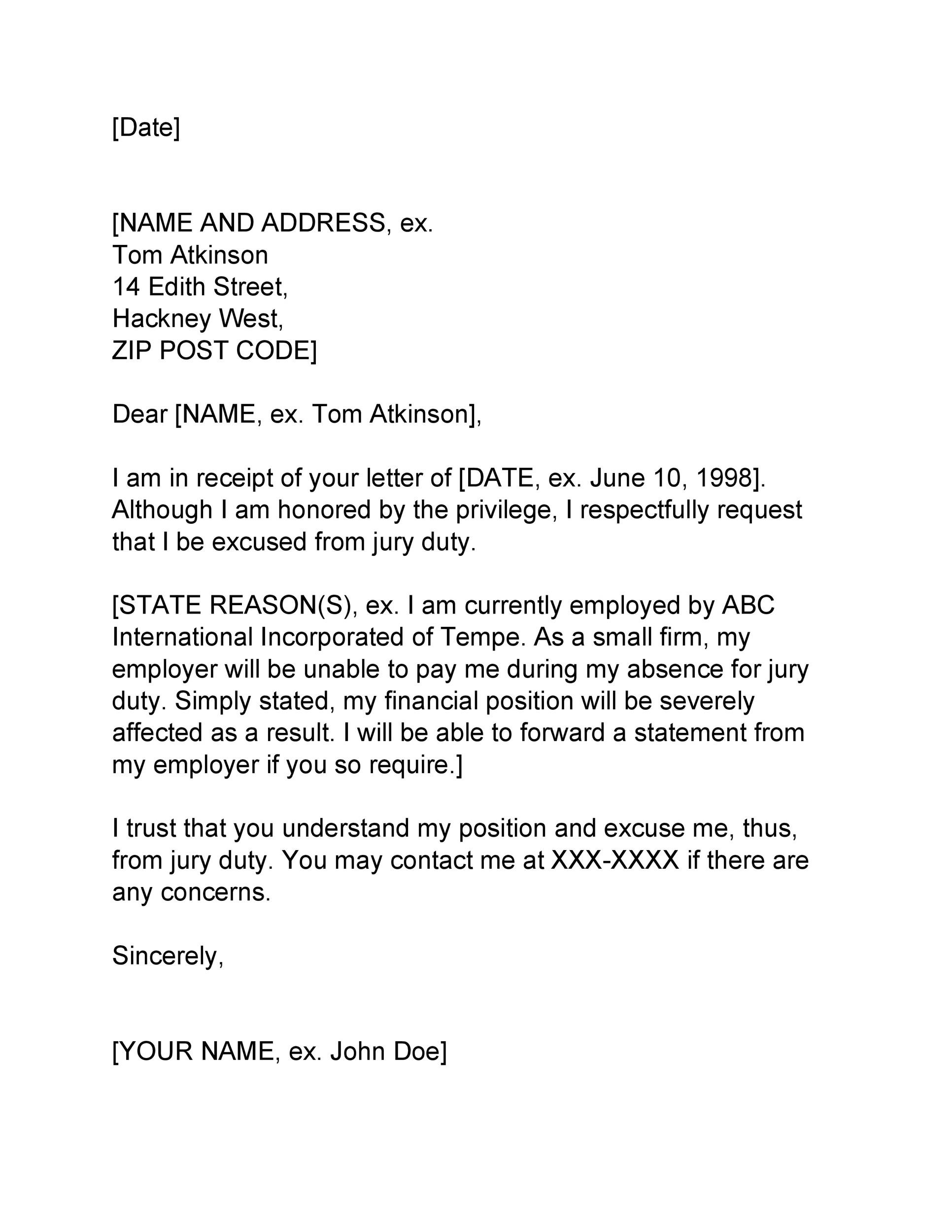 Free jury duty excuse letter template 17