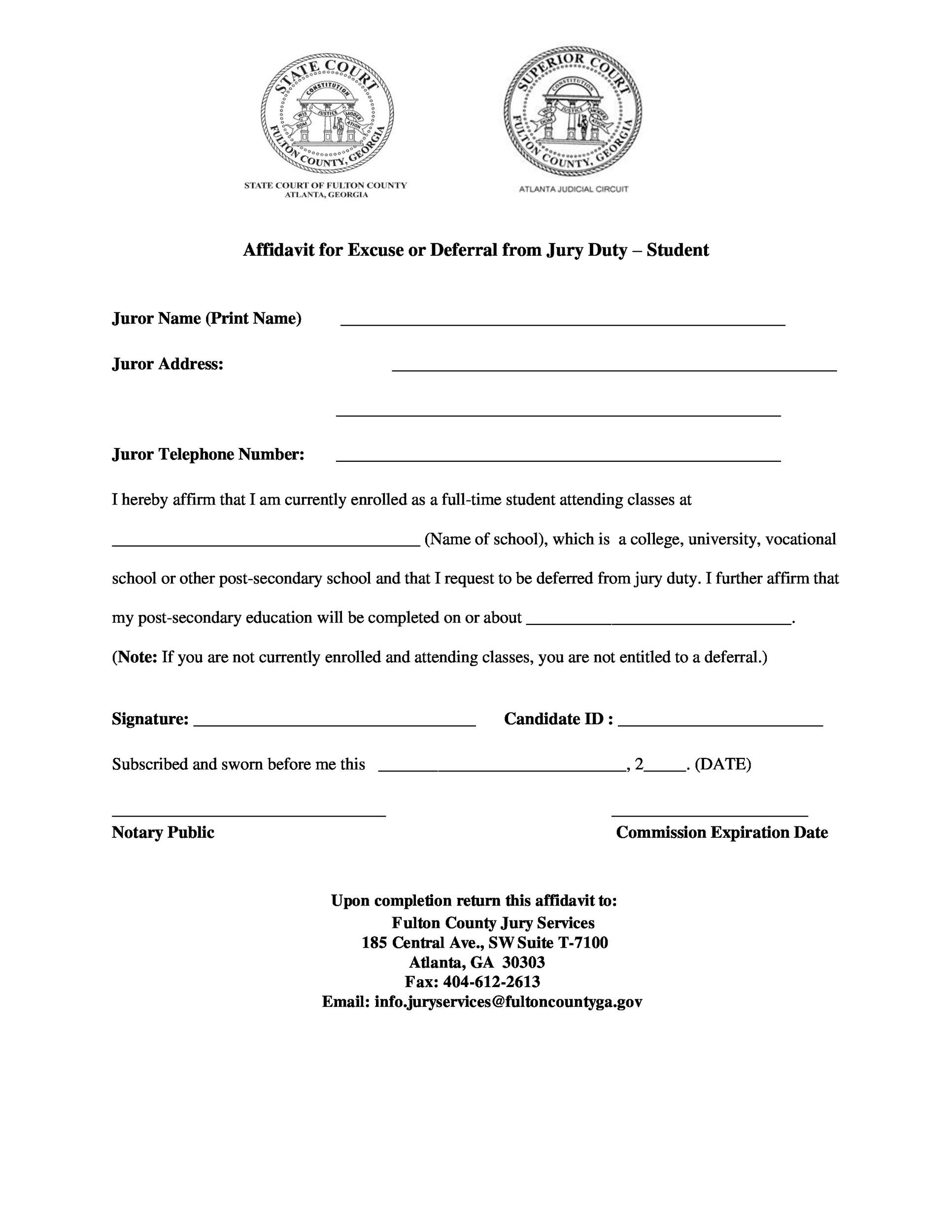 Free jury duty excuse letter template 19