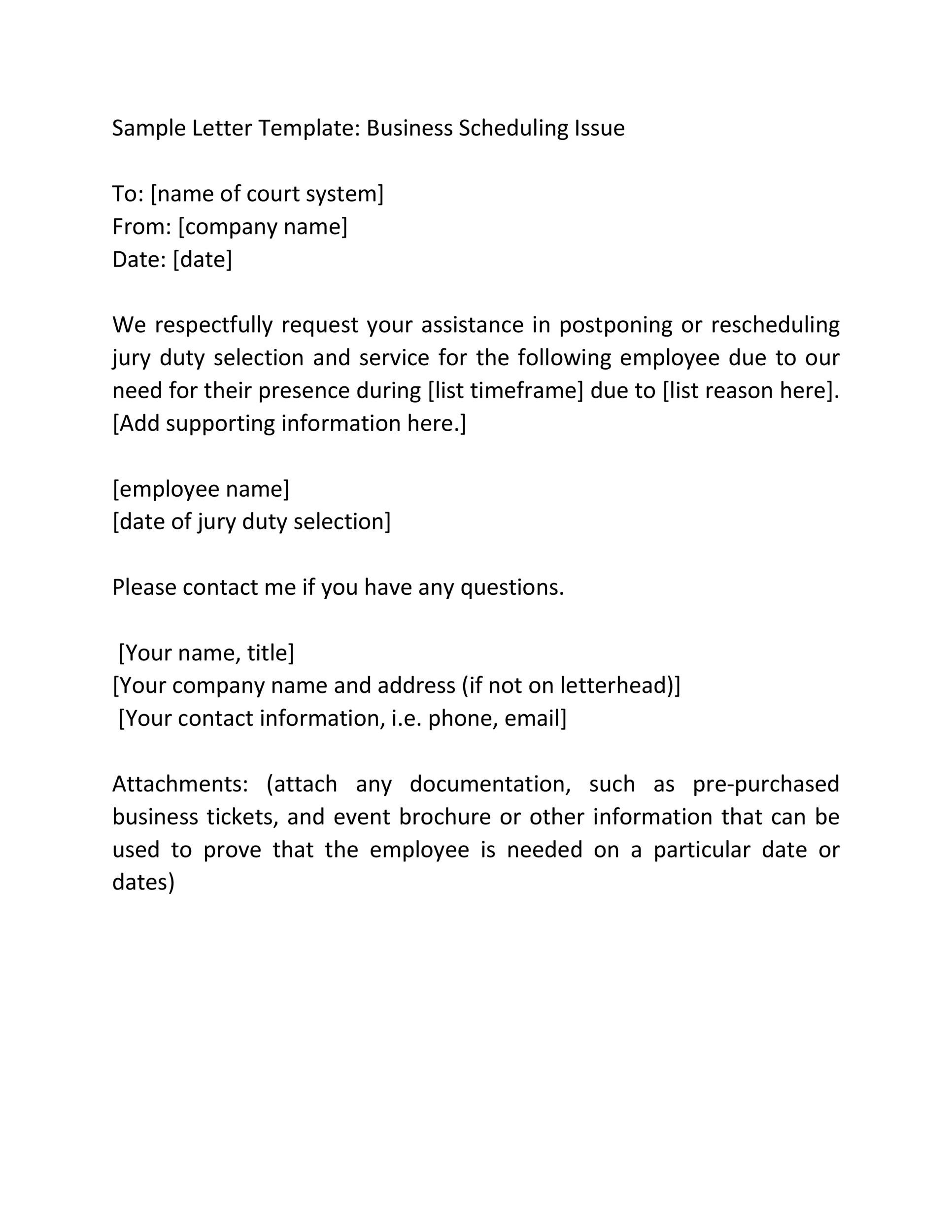 Free jury duty excuse letter template 21