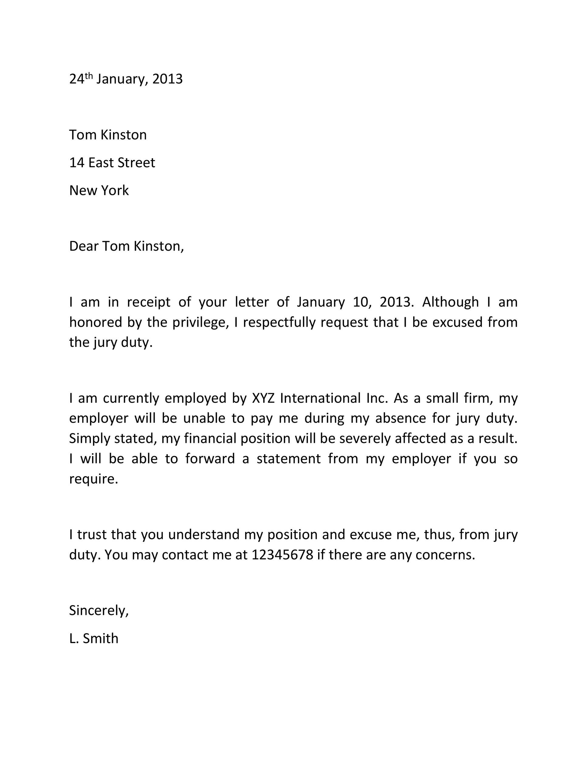 Free jury duty excuse letter template 23
