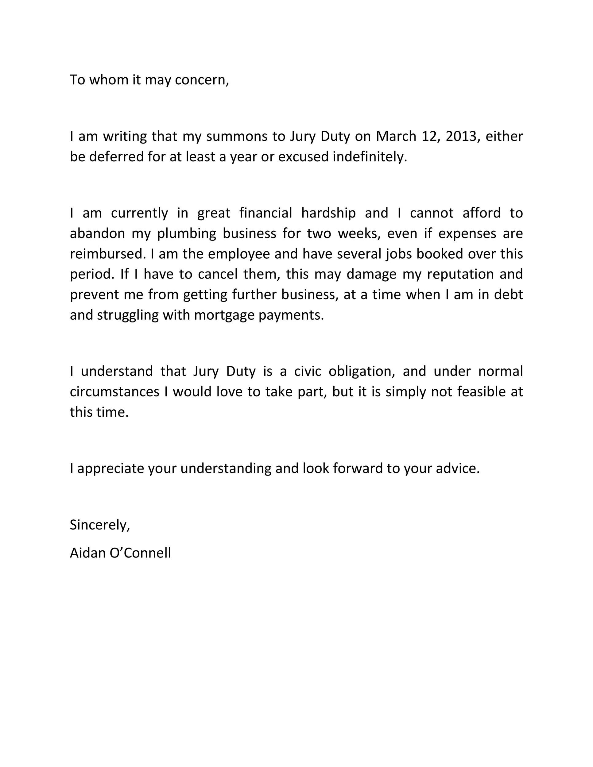 Free jury duty excuse letter template 26
