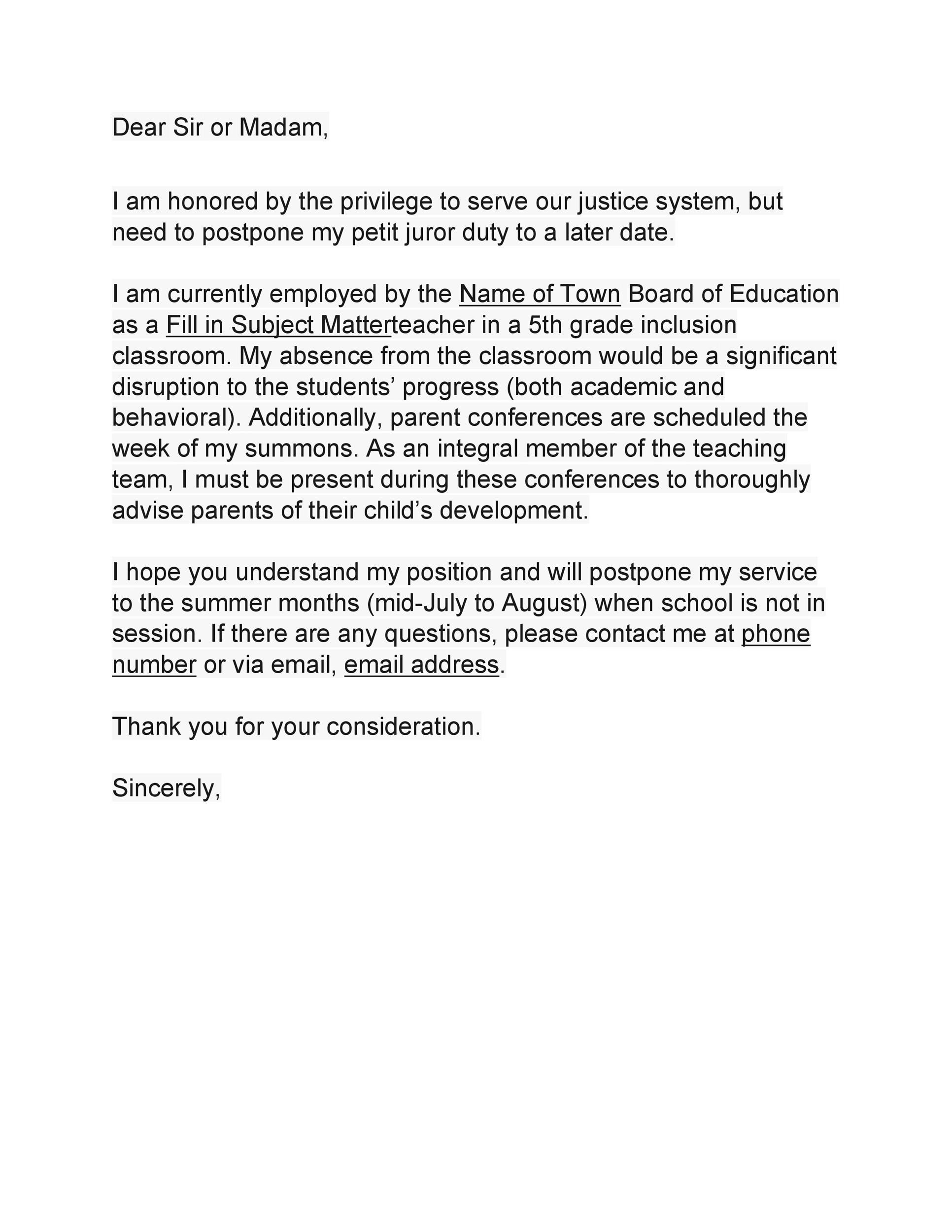 Free jury duty excuse letter template 30