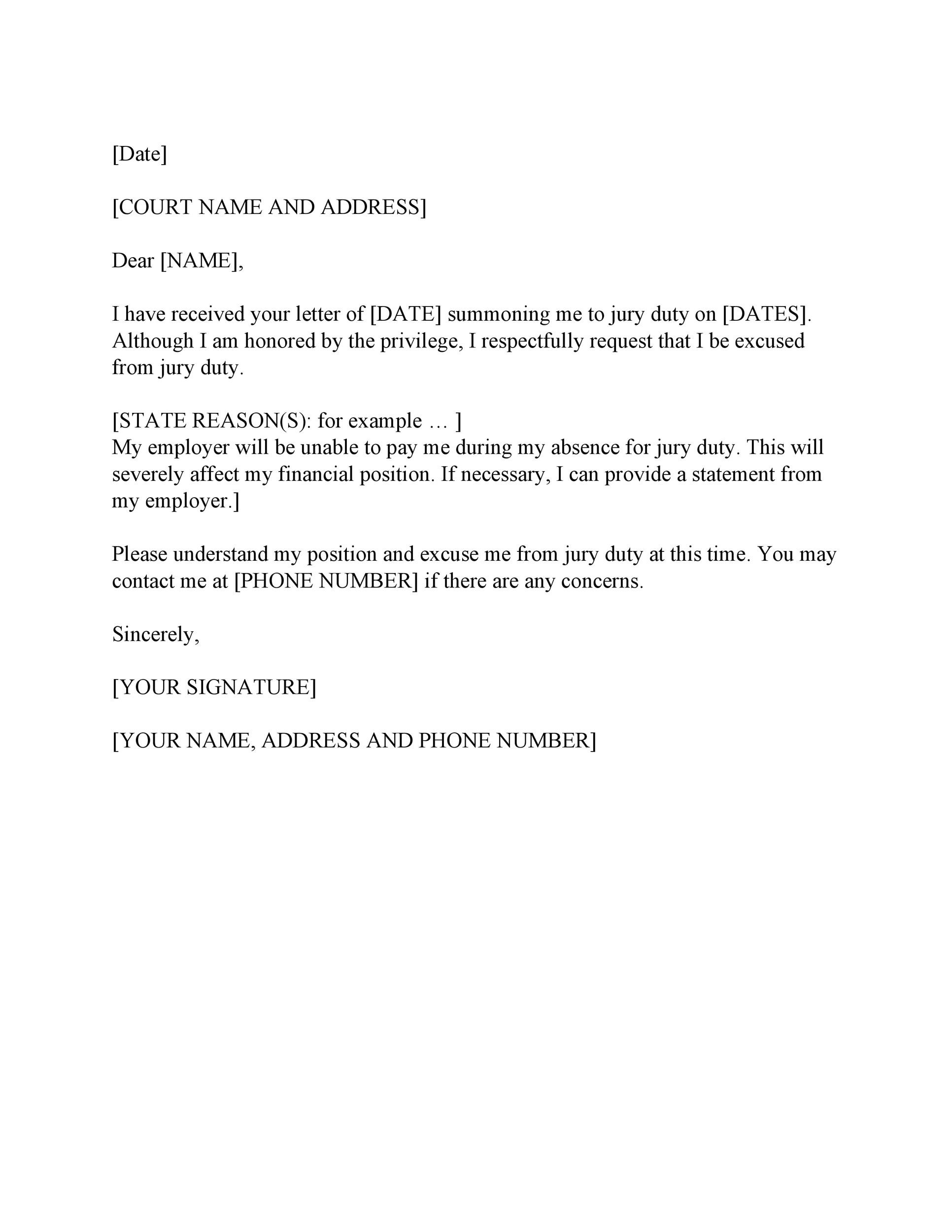 Free jury duty excuse letter template 32