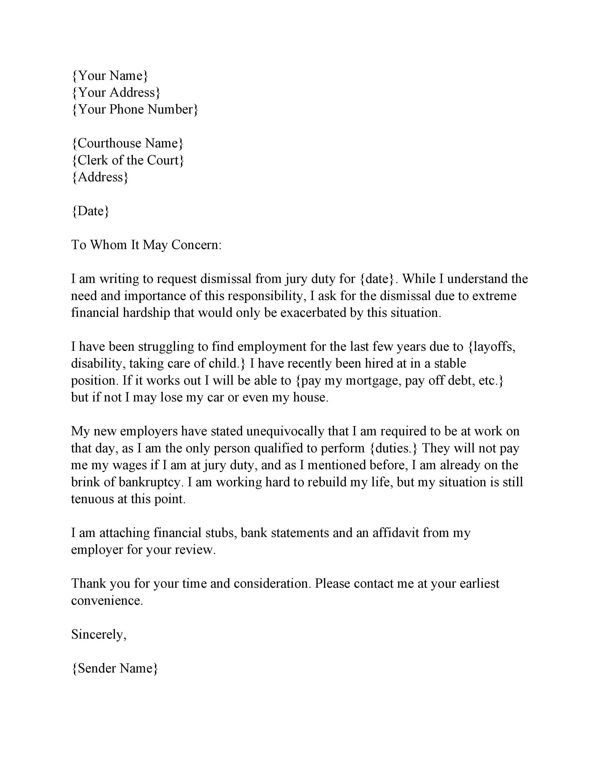 Free jury duty excuse letter template 33