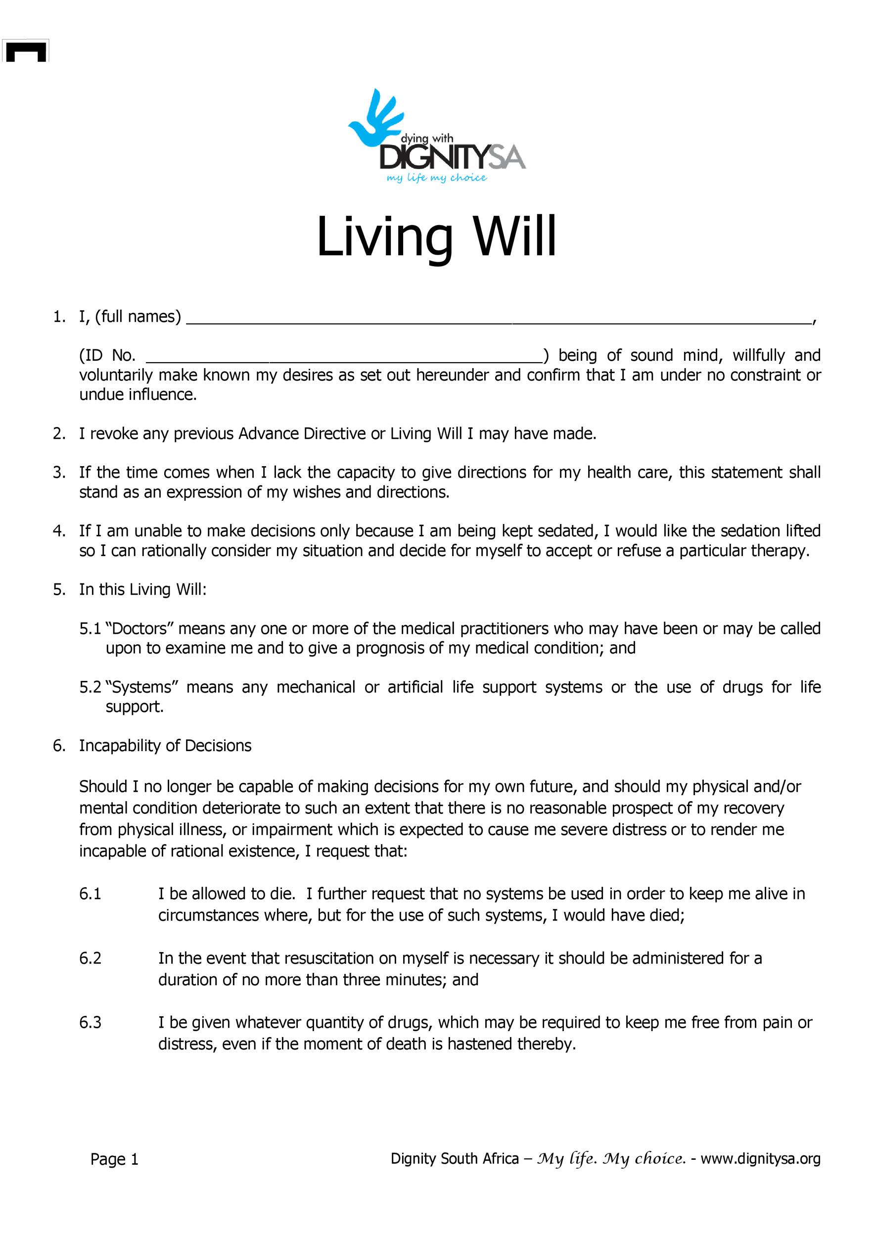 Free living will template 14