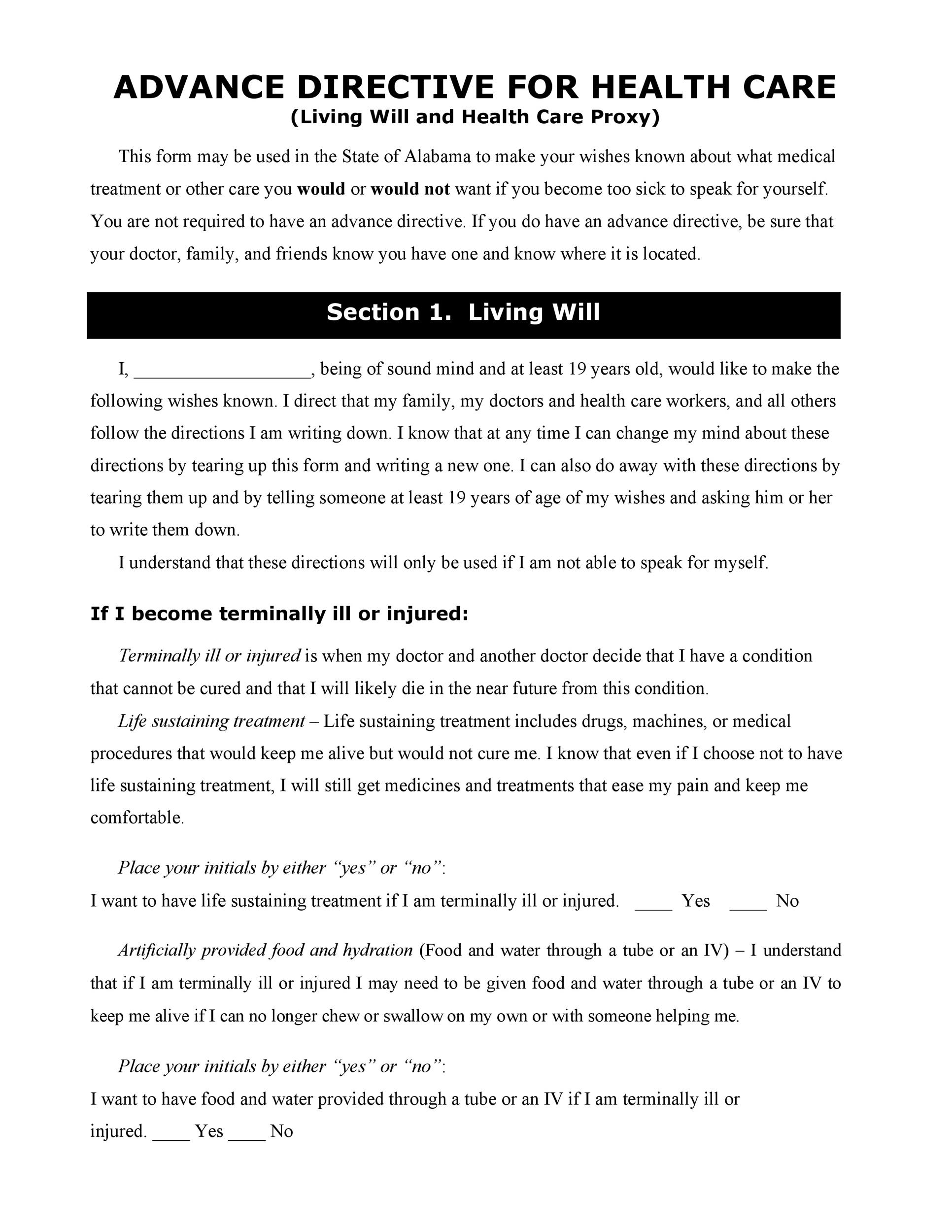 Free living will template 46