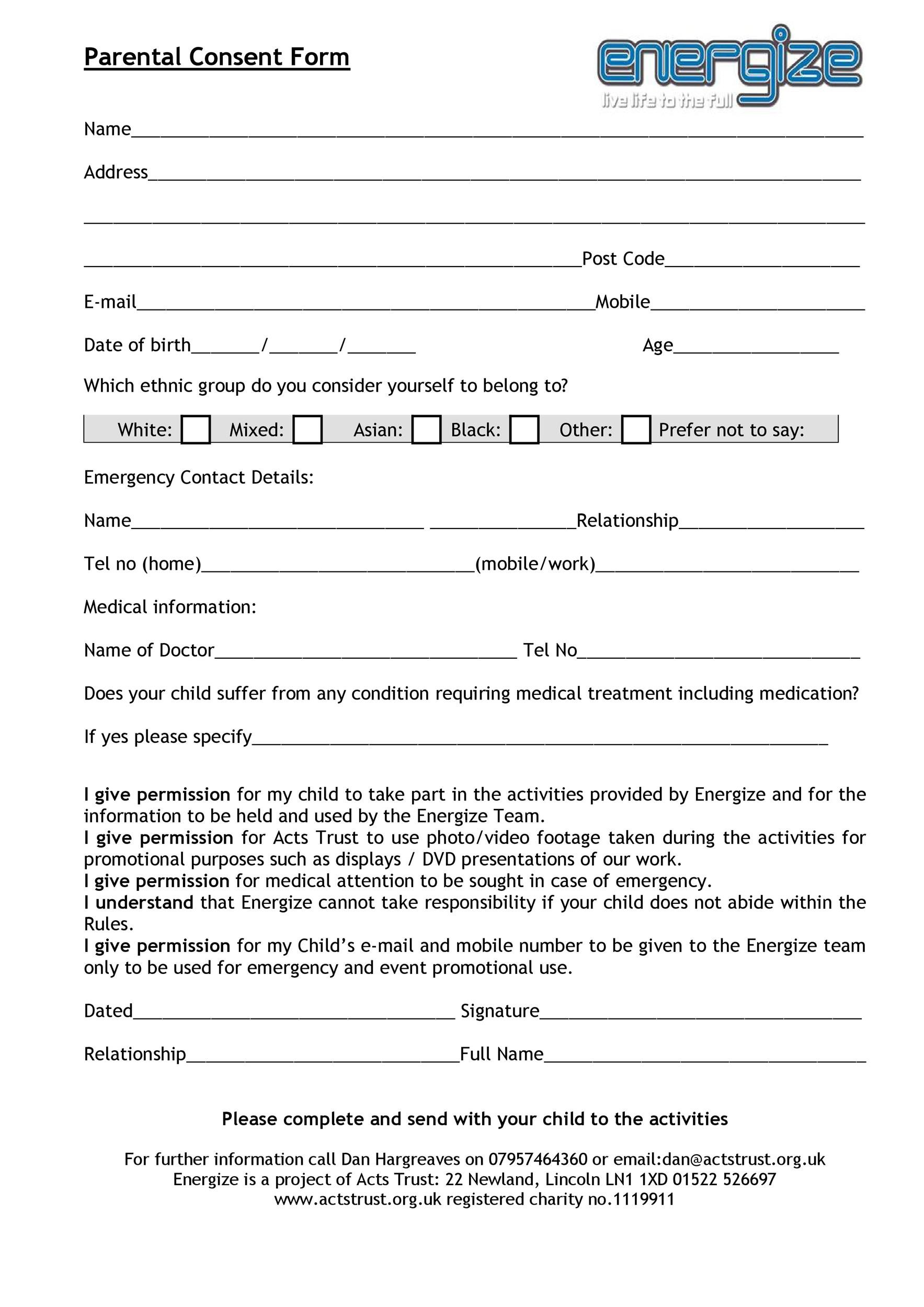 Free parental consent form template 02