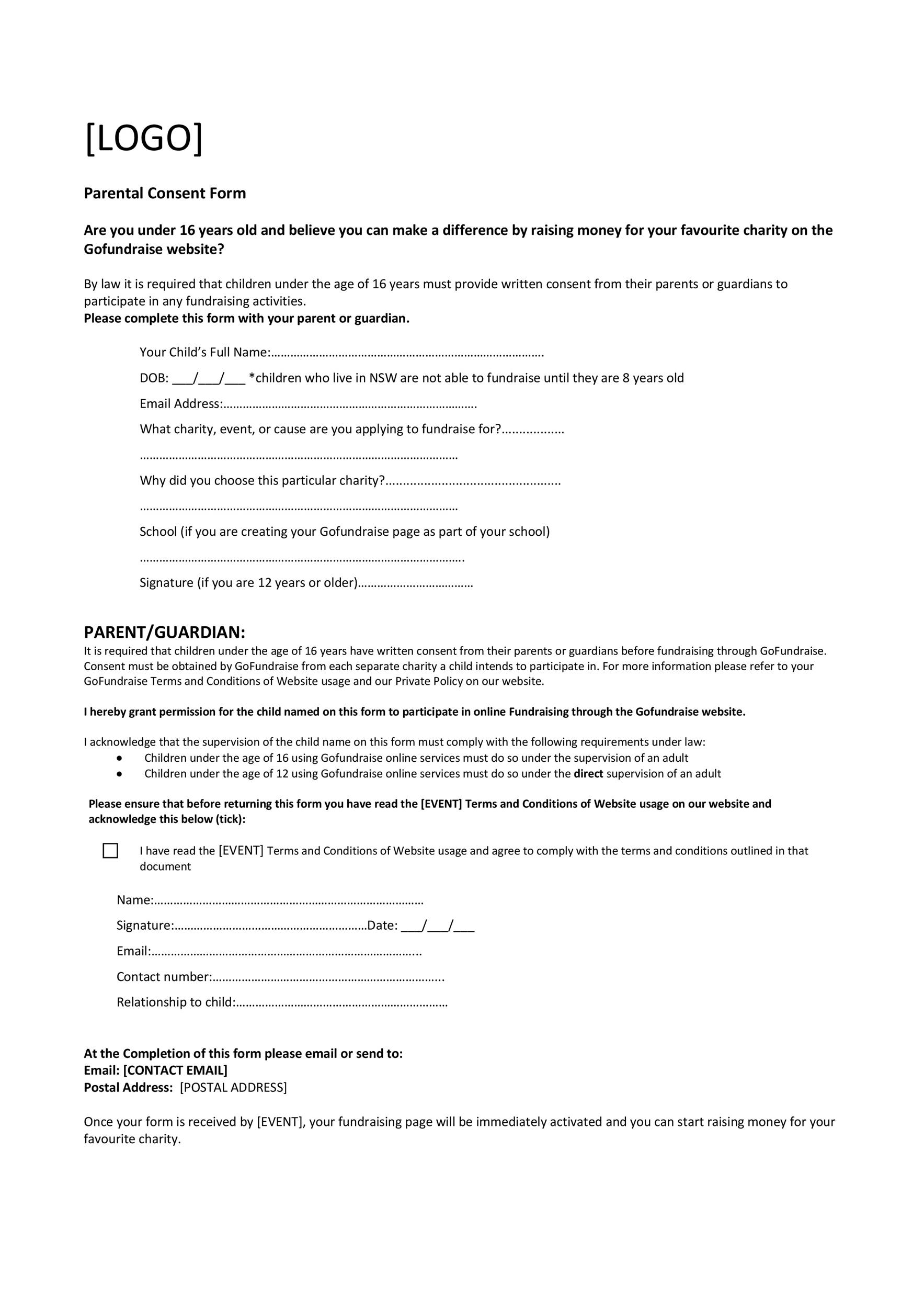 50 Printable Parental Consent Form Templates Template Lab