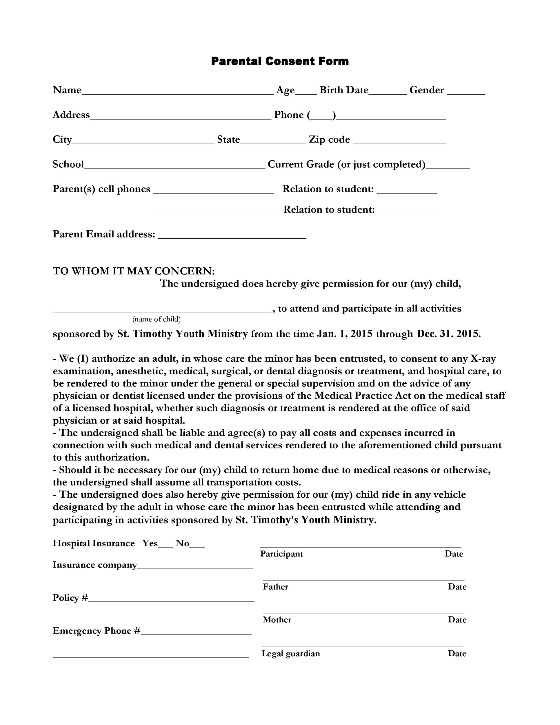 Free parental consent form template 06