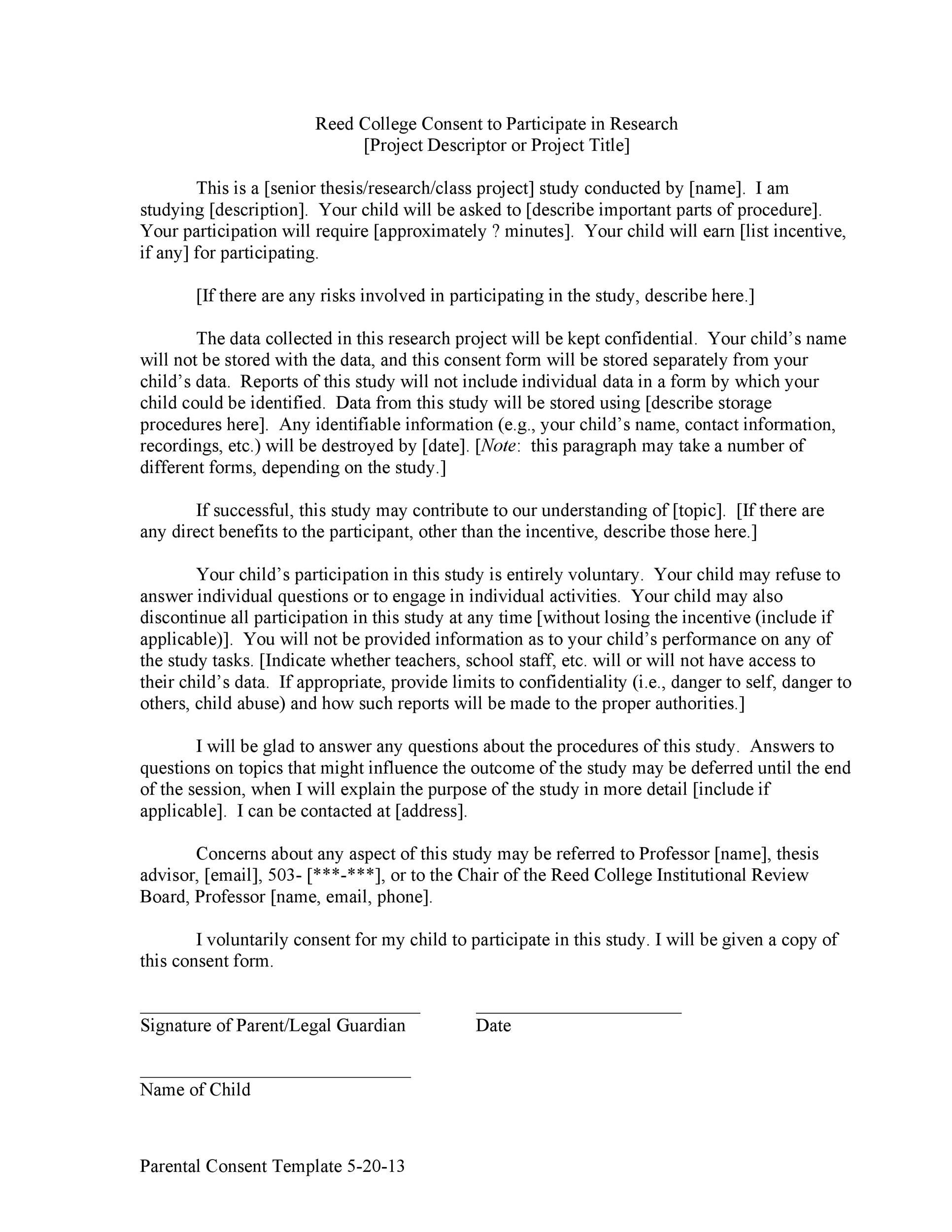 Free parental consent form template 08