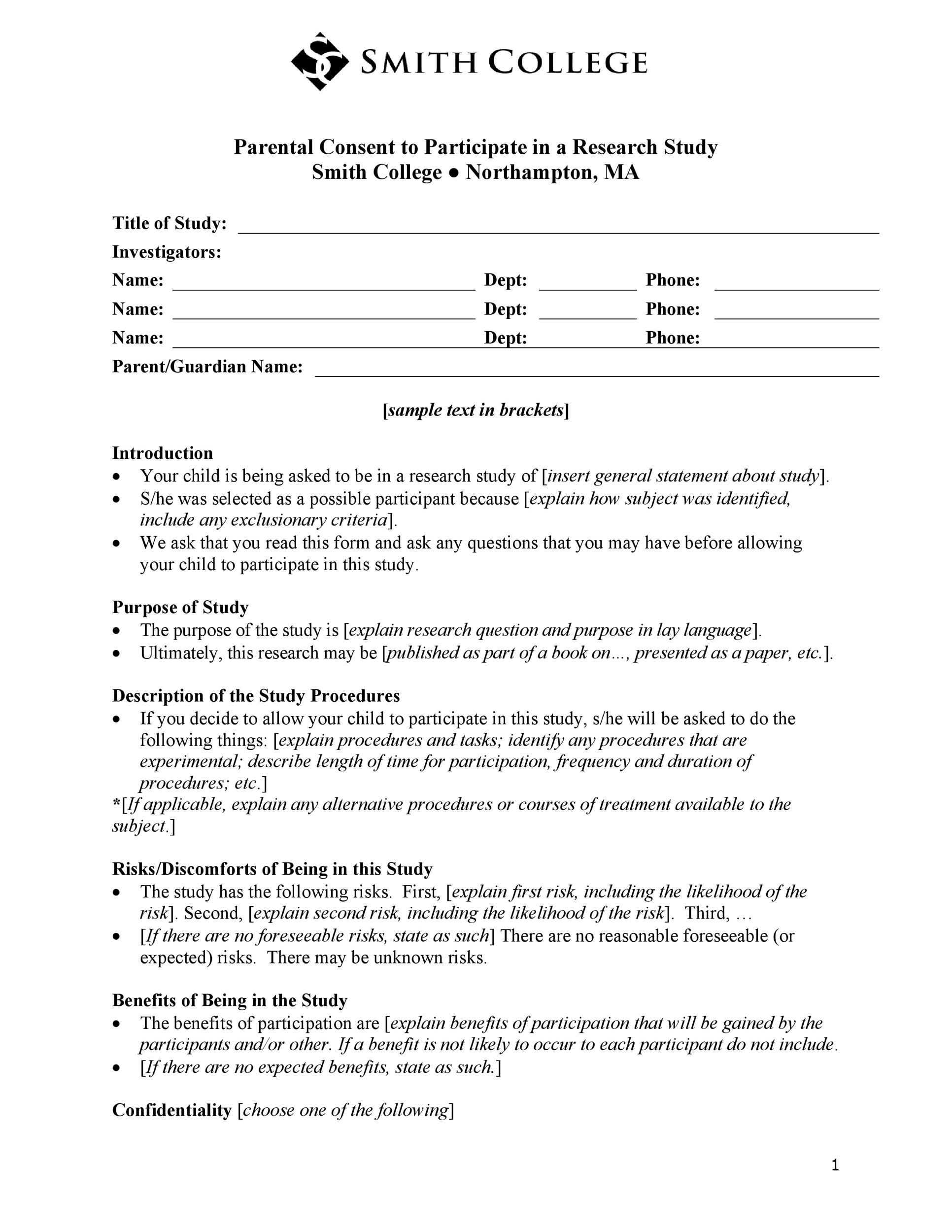 Free parental consent form template 11
