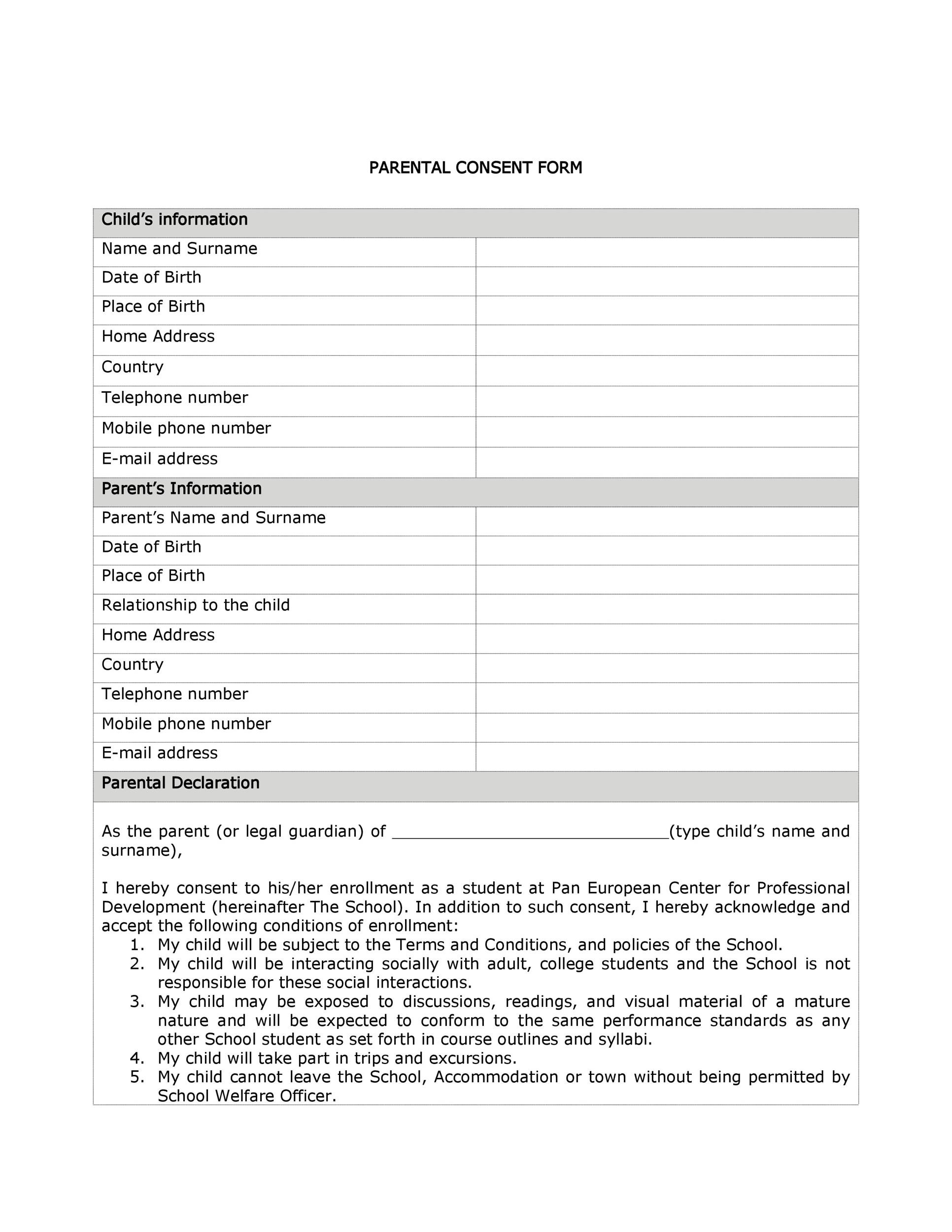 Free parental consent form template 12
